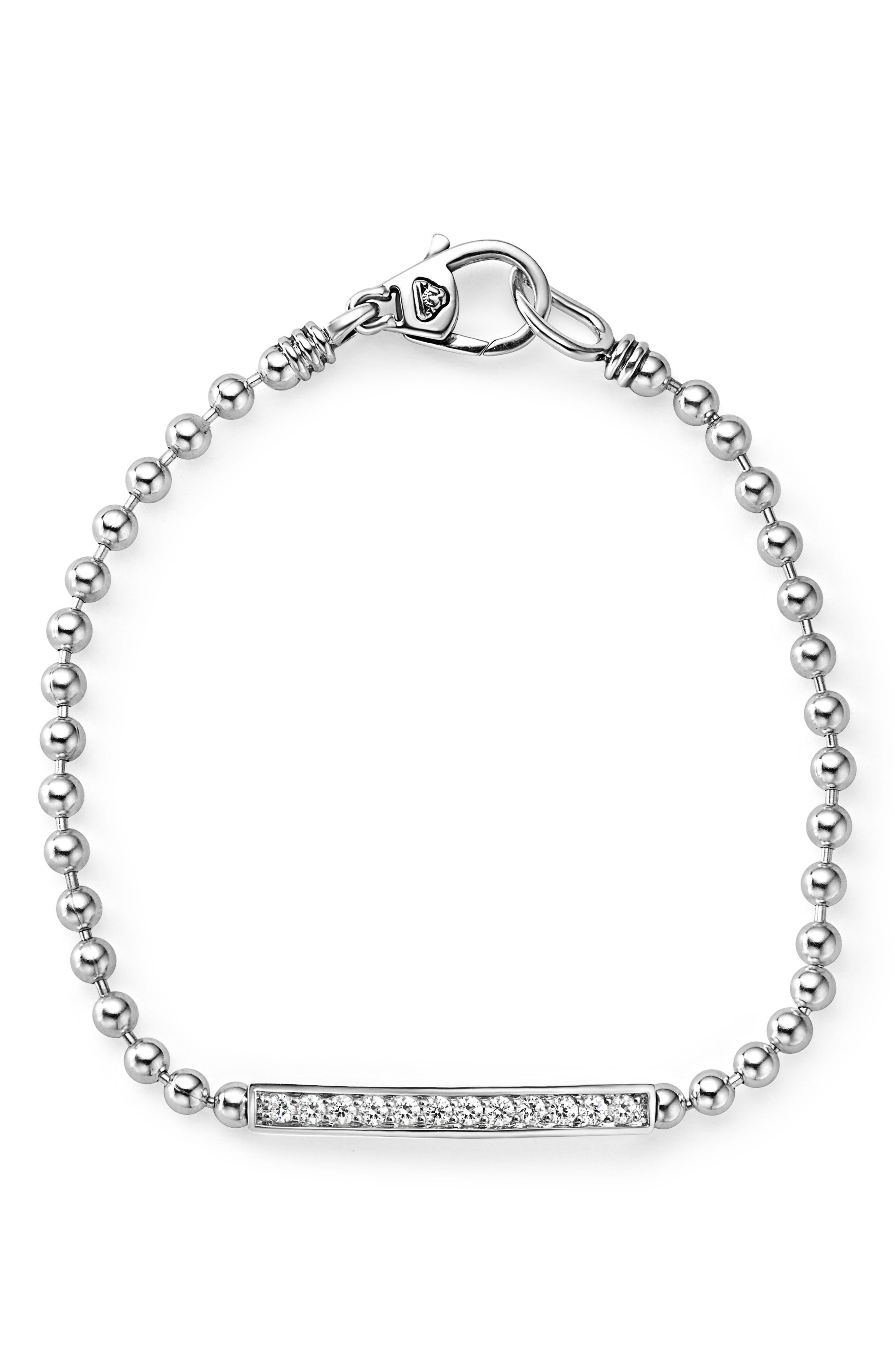 Caviar Spark Diamond Bar Chain Bracelet,                         Main,                         color, SILVER/ DIAMOND
