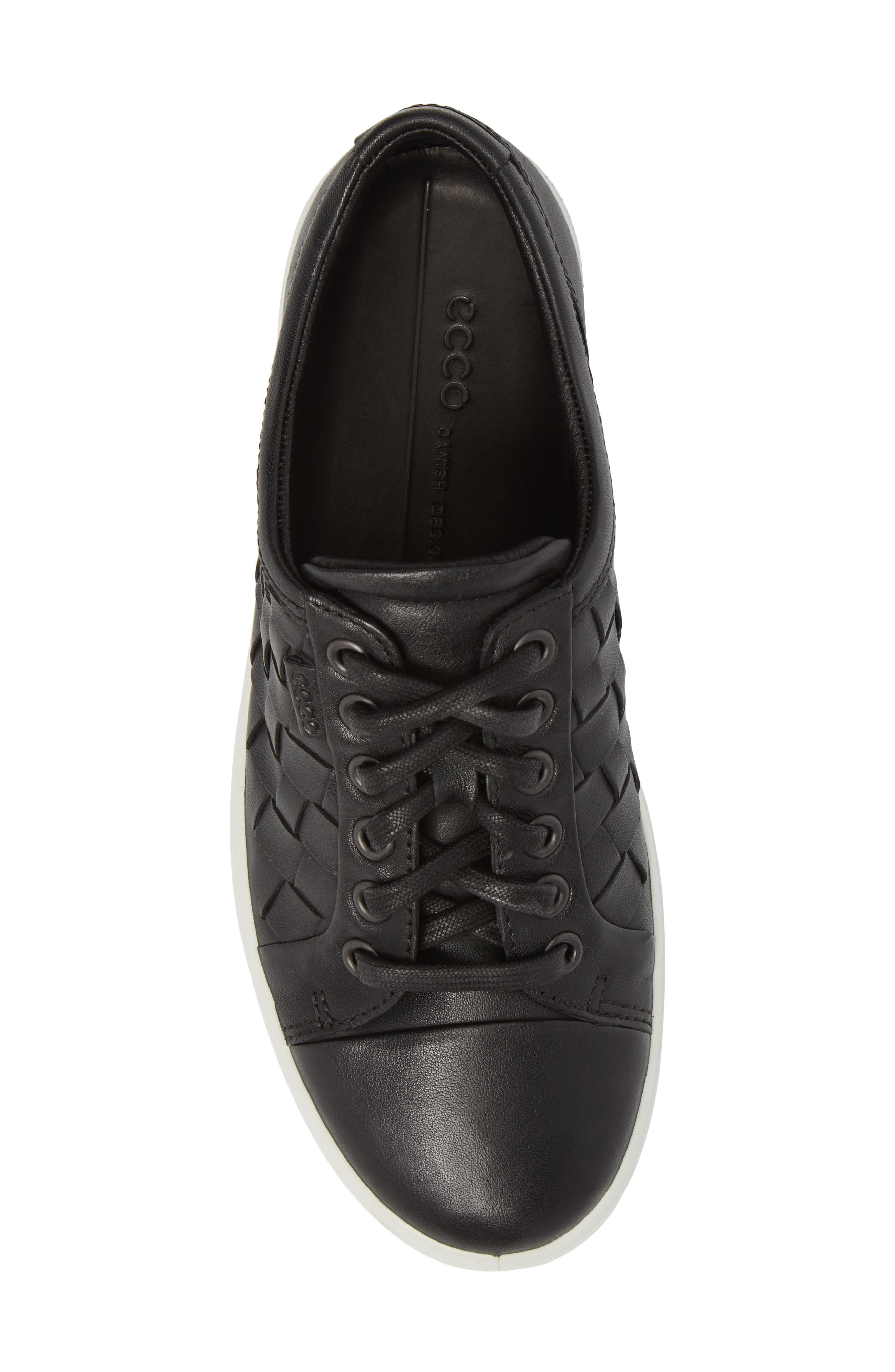 ECCO,                             Soft 7 Woven Sneaker,                             Alternate thumbnail 5, color,                             BLACK LEATHER