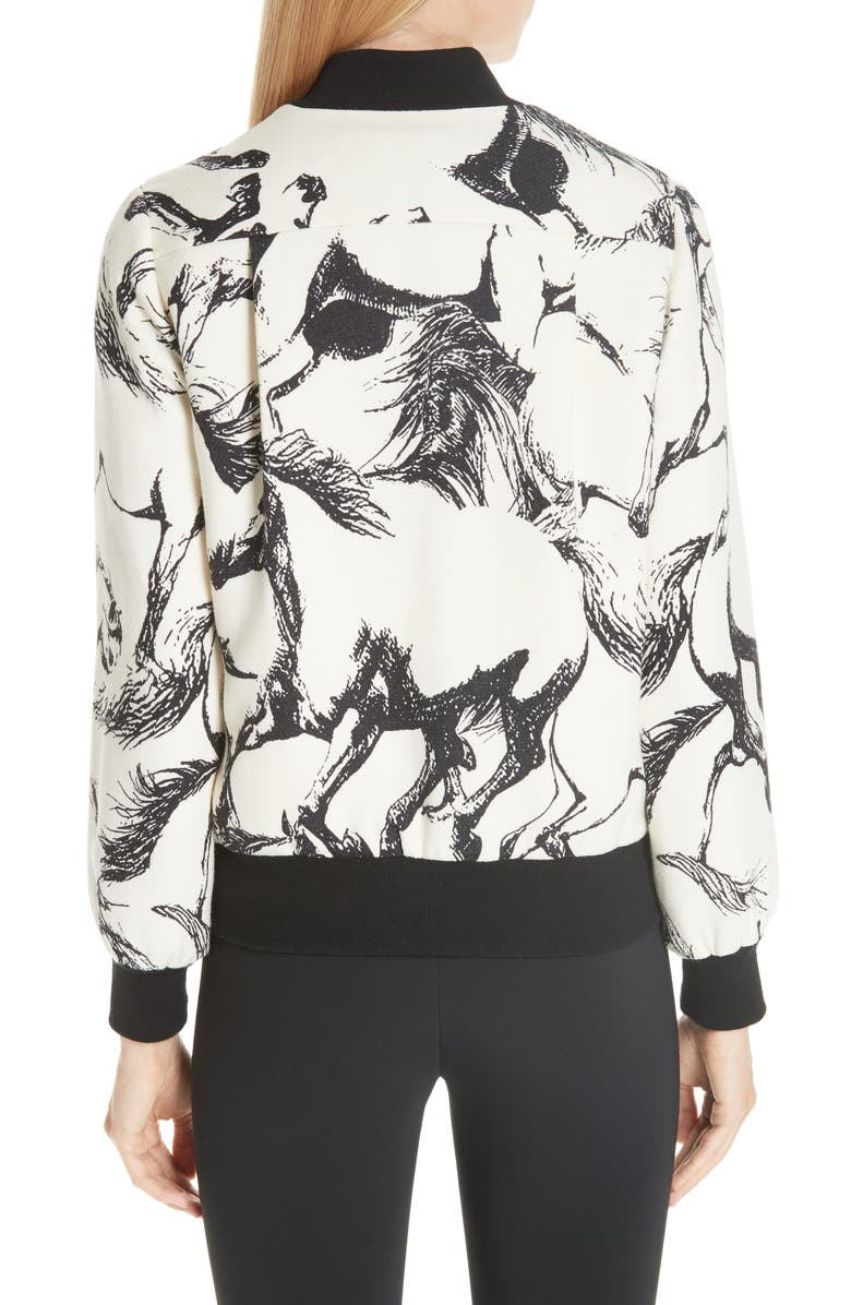 Adam Lippes Horse Print Wool Bomber Jacket | Nordstrom