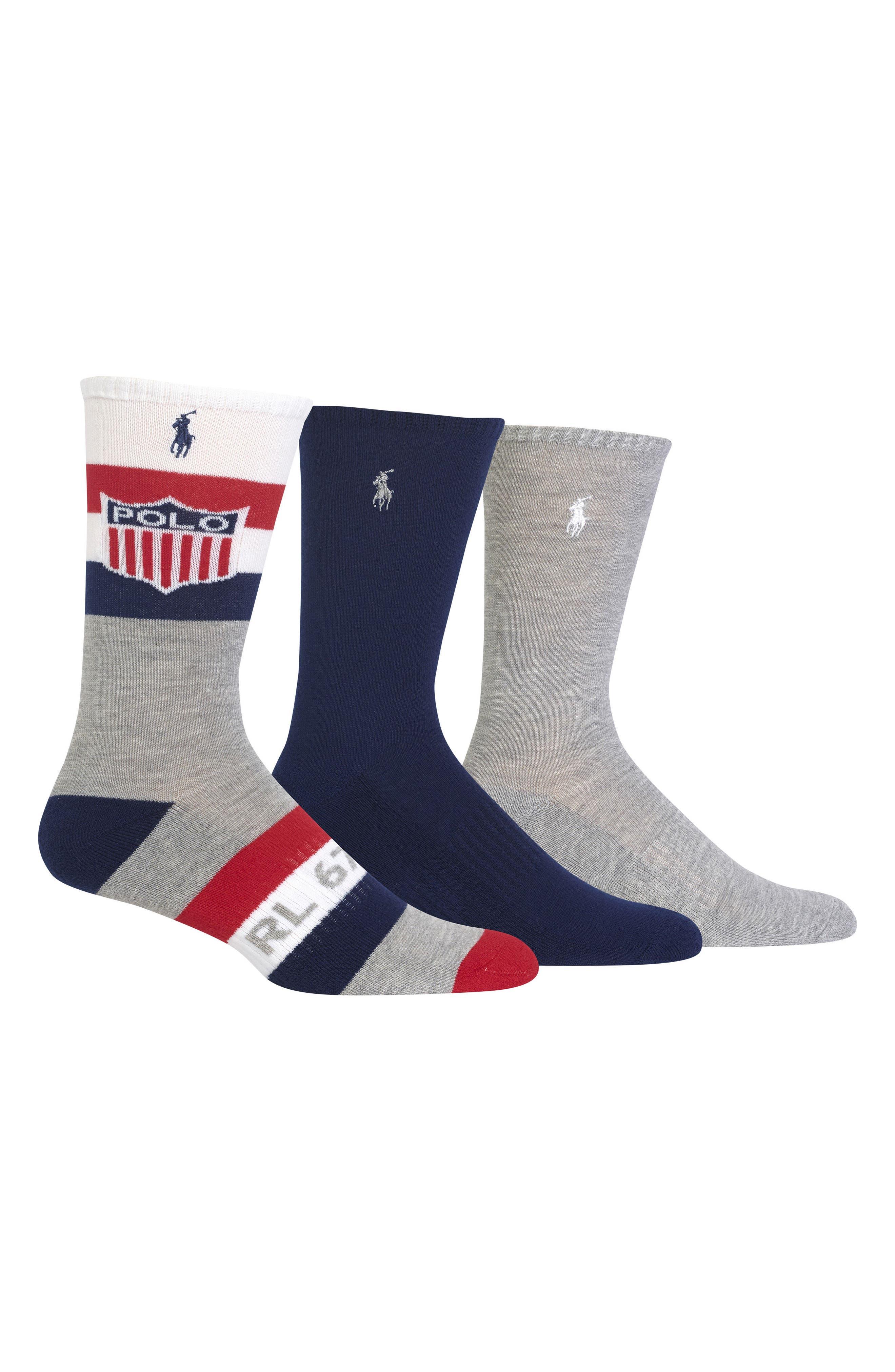 Ralph Lauren Athletic Shield 3-Pack Socks,                             Main thumbnail 1, color,                             023