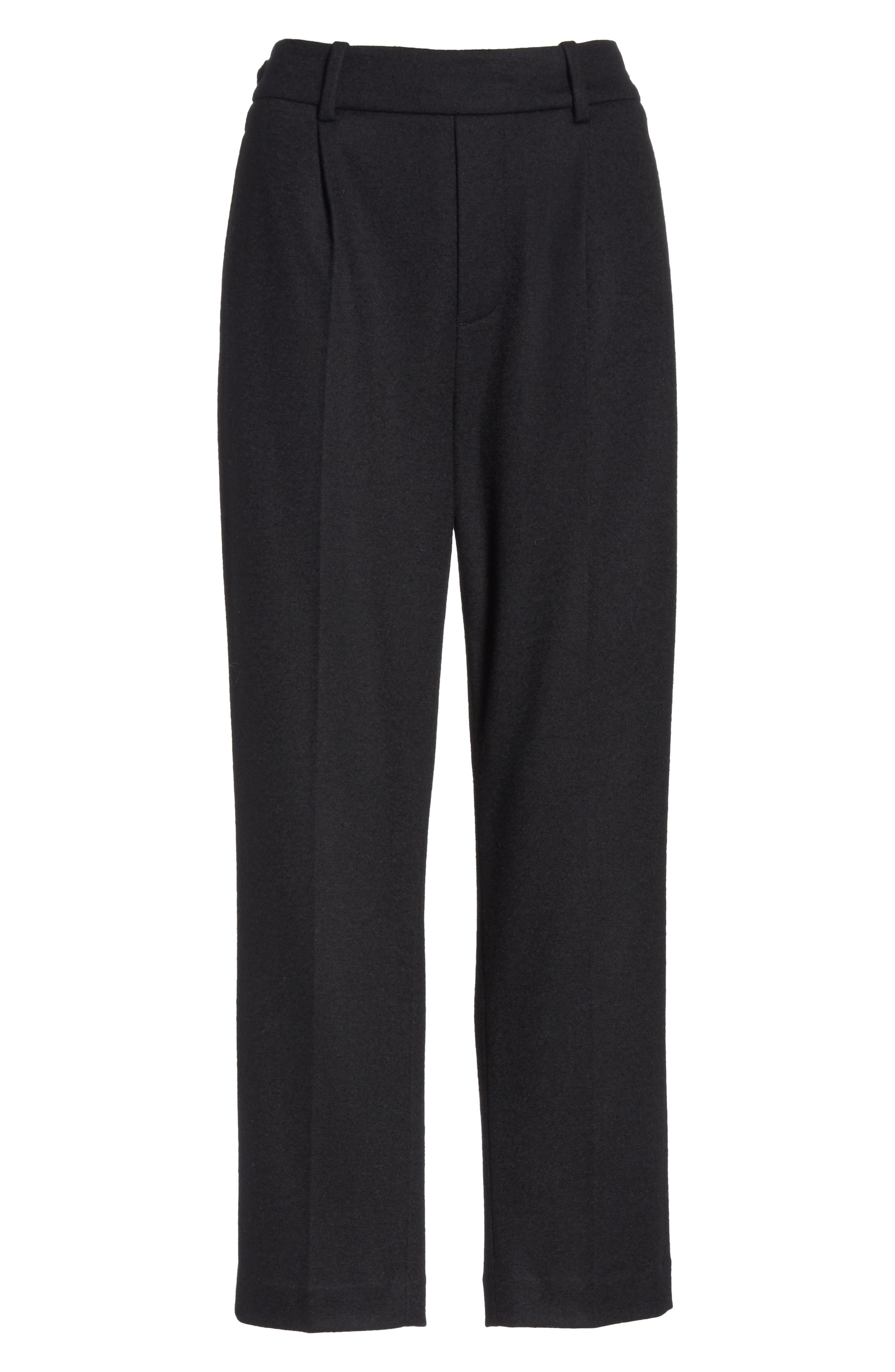 Cropped Pull-On Pants,                             Alternate thumbnail 6, color,                             BLACK
