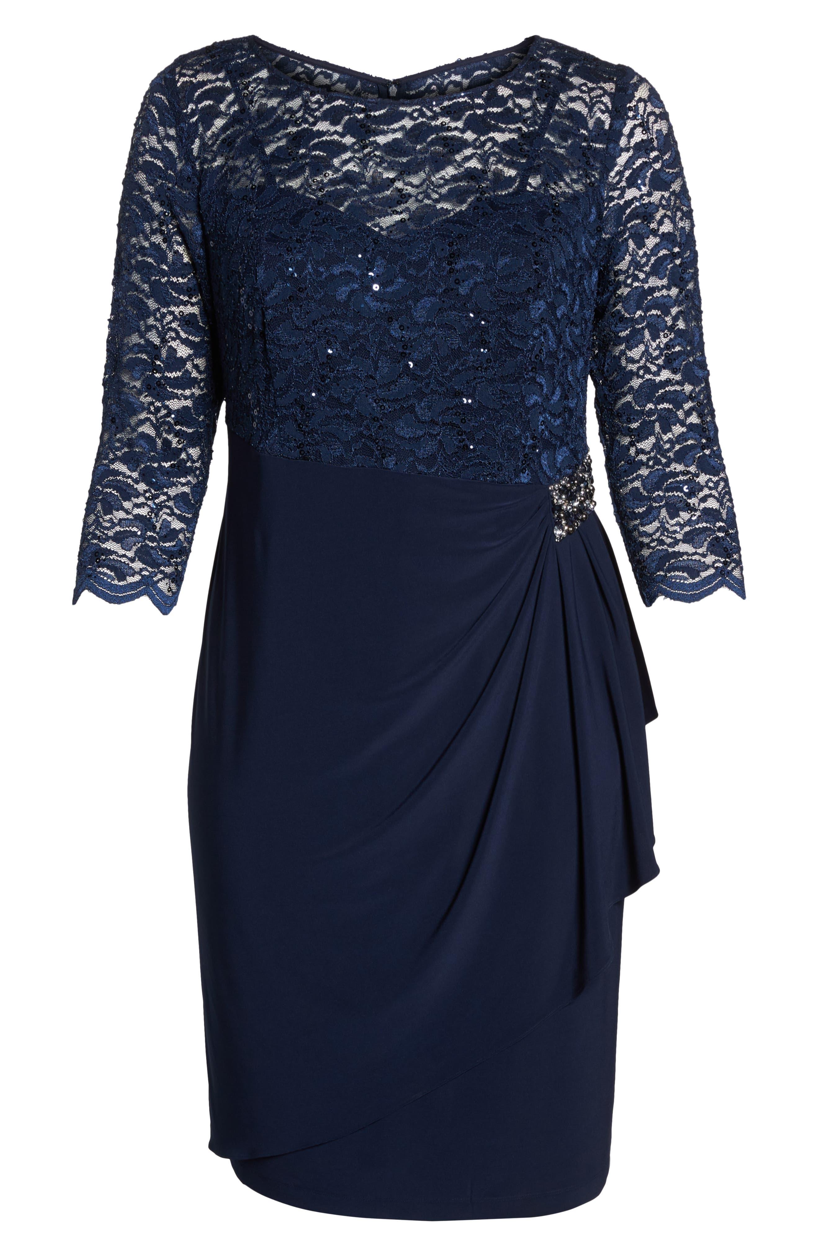 Embellished Ruffle Detail Shift Dress,                             Alternate thumbnail 6, color,                             410
