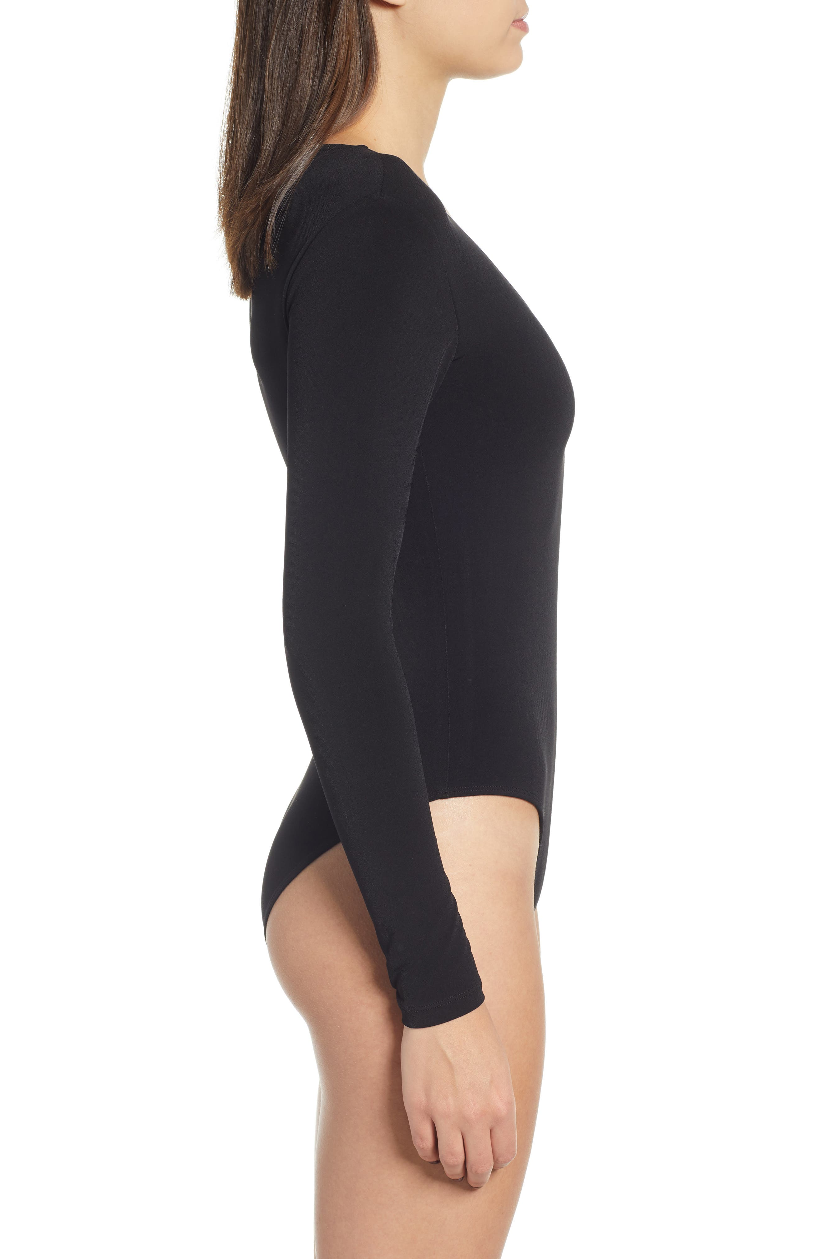 Deep V-Neck Long Sleeve Bodysuit,                             Alternate thumbnail 4, color,                             BLACK