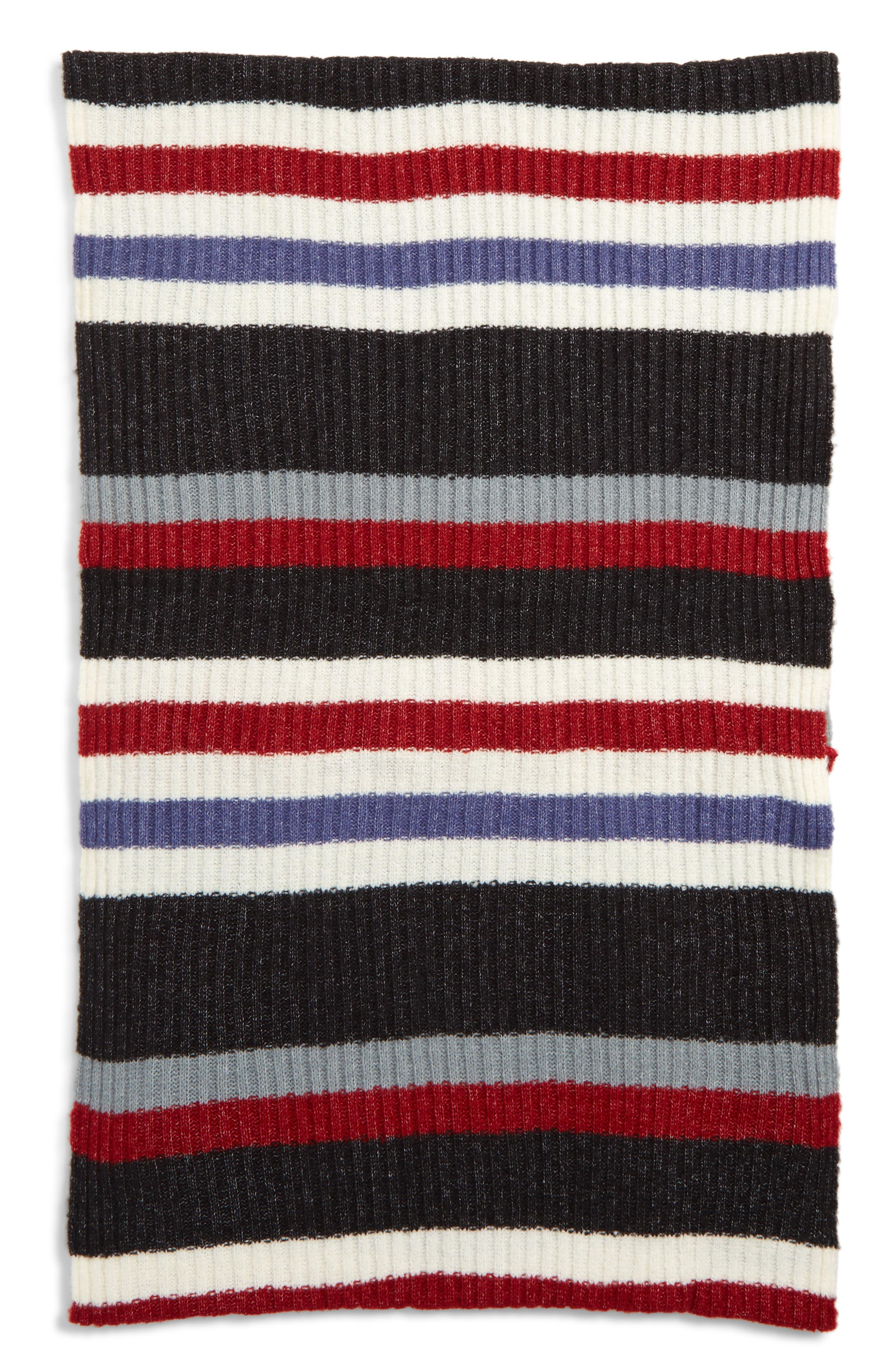 Multi Stripe Rib Scarf,                             Alternate thumbnail 2, color,                             IVORY MULTI