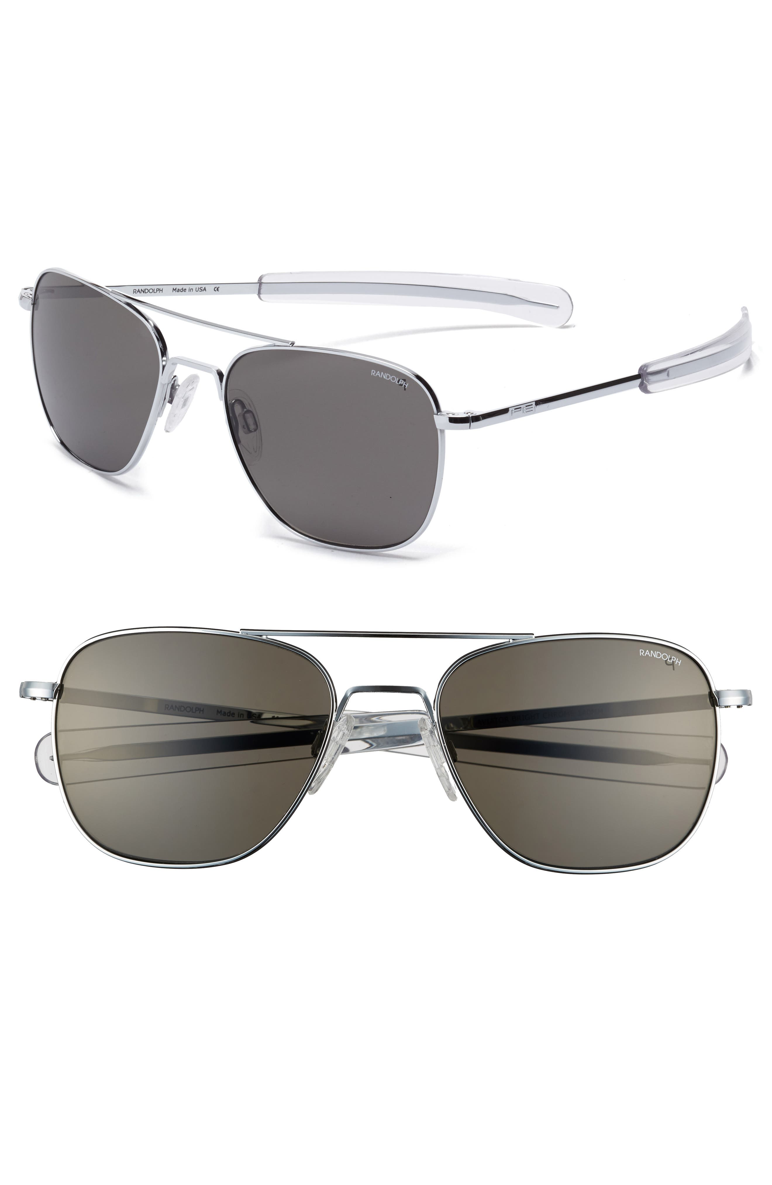55mm Polarized Aviator Sunglasses,                             Alternate thumbnail 2, color,                             045