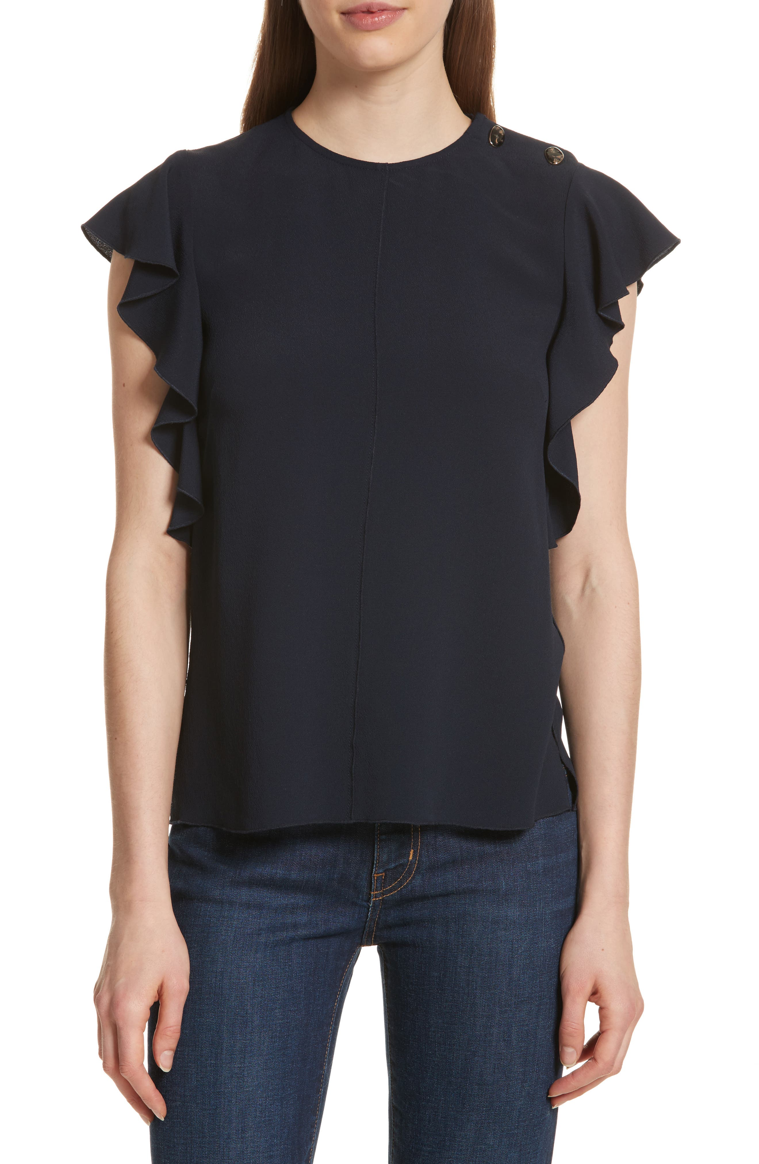 Button Detail Ruffled Top,                         Main,                         color, 401