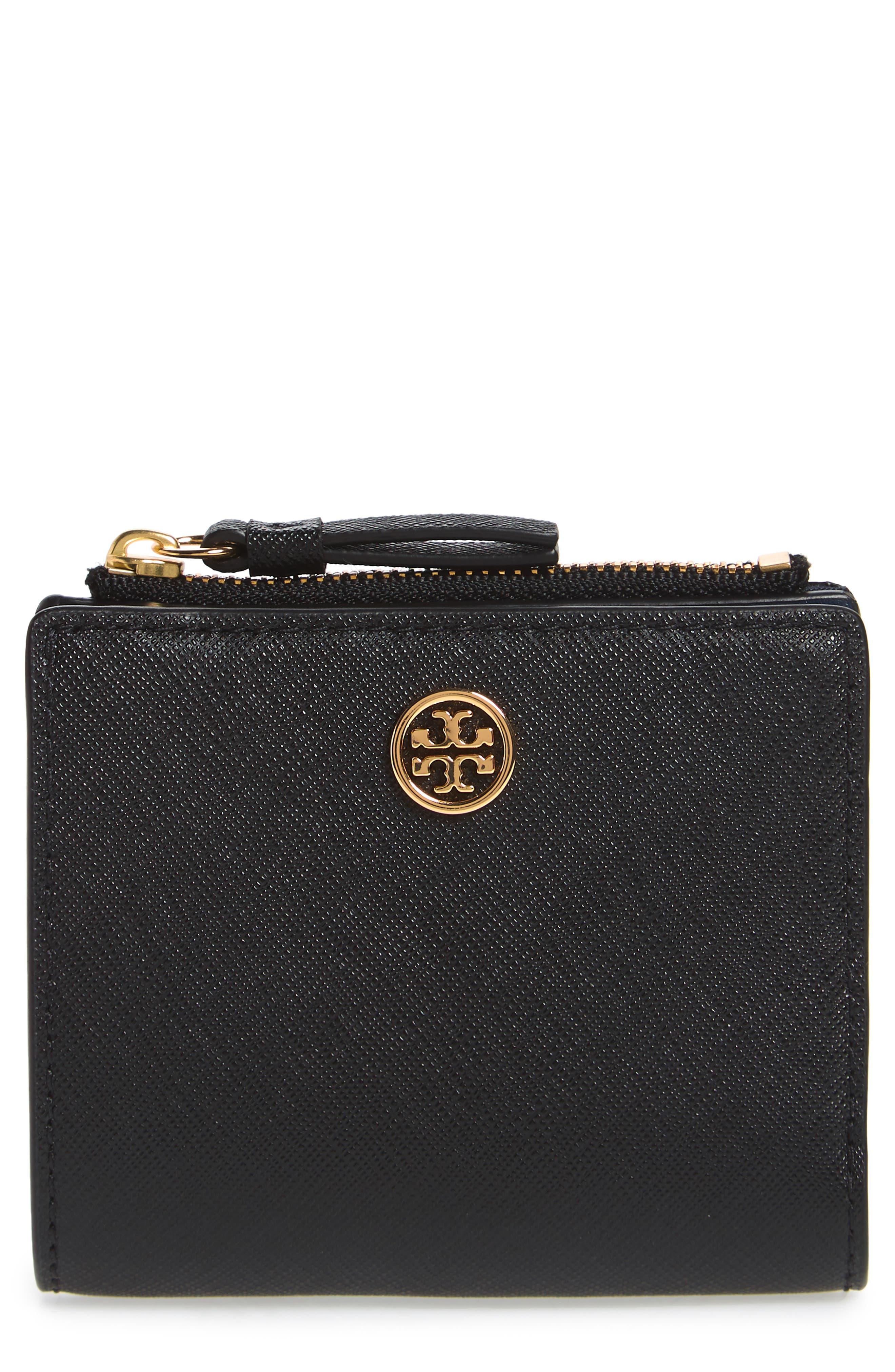 TORY BURCH,                             Mini Robinson Wallet Leather Bifold Wallet,                             Main thumbnail 1, color,                             BLACK / ROYAL NAVY