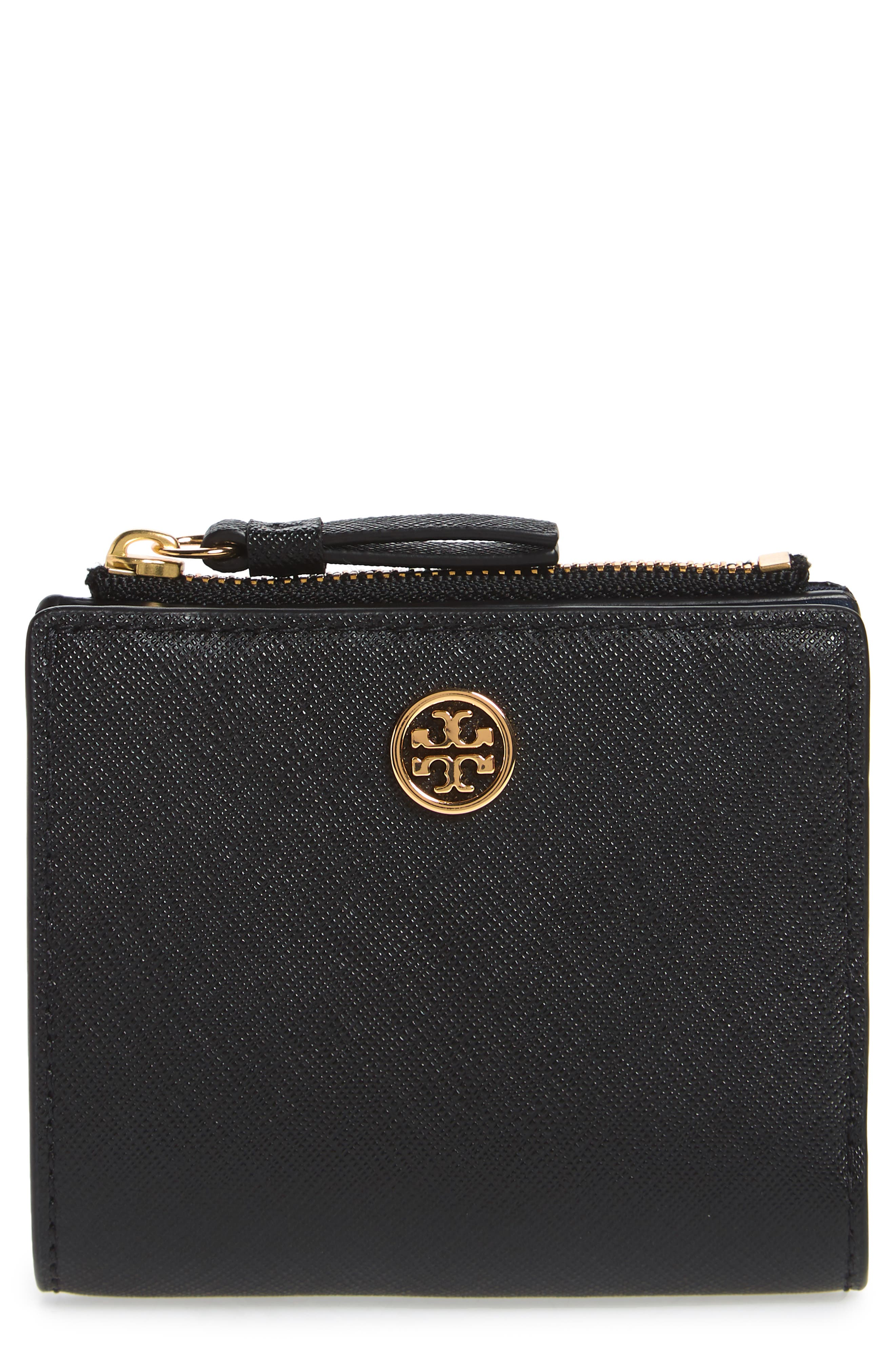 TORY BURCH Mini Robinson Wallet Leather Bifold Wallet, Main, color, BLACK / ROYAL NAVY
