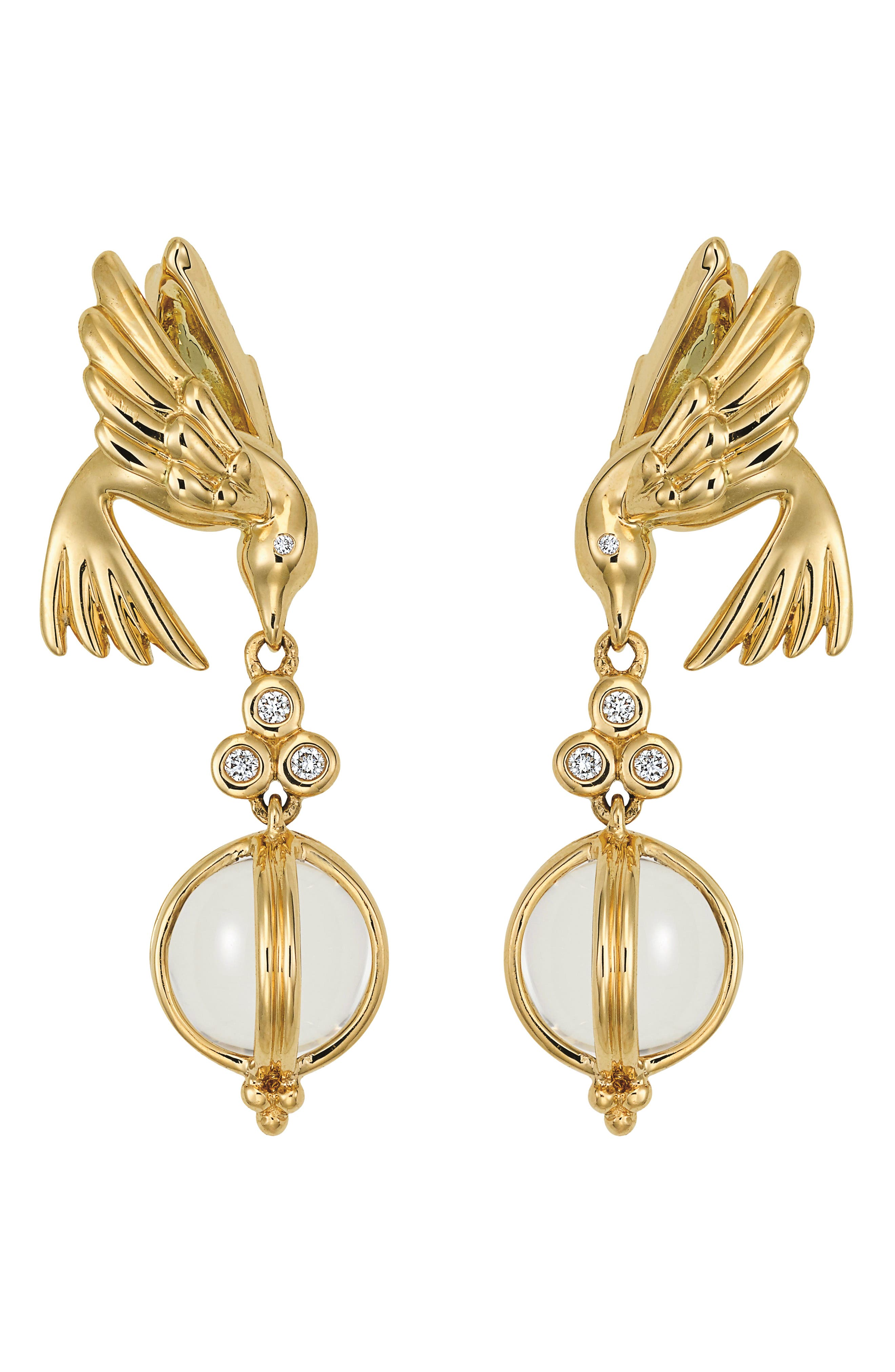 Crystal & Diamond Bird Drop Earrings,                             Alternate thumbnail 2, color,                             YELLOW GOLD