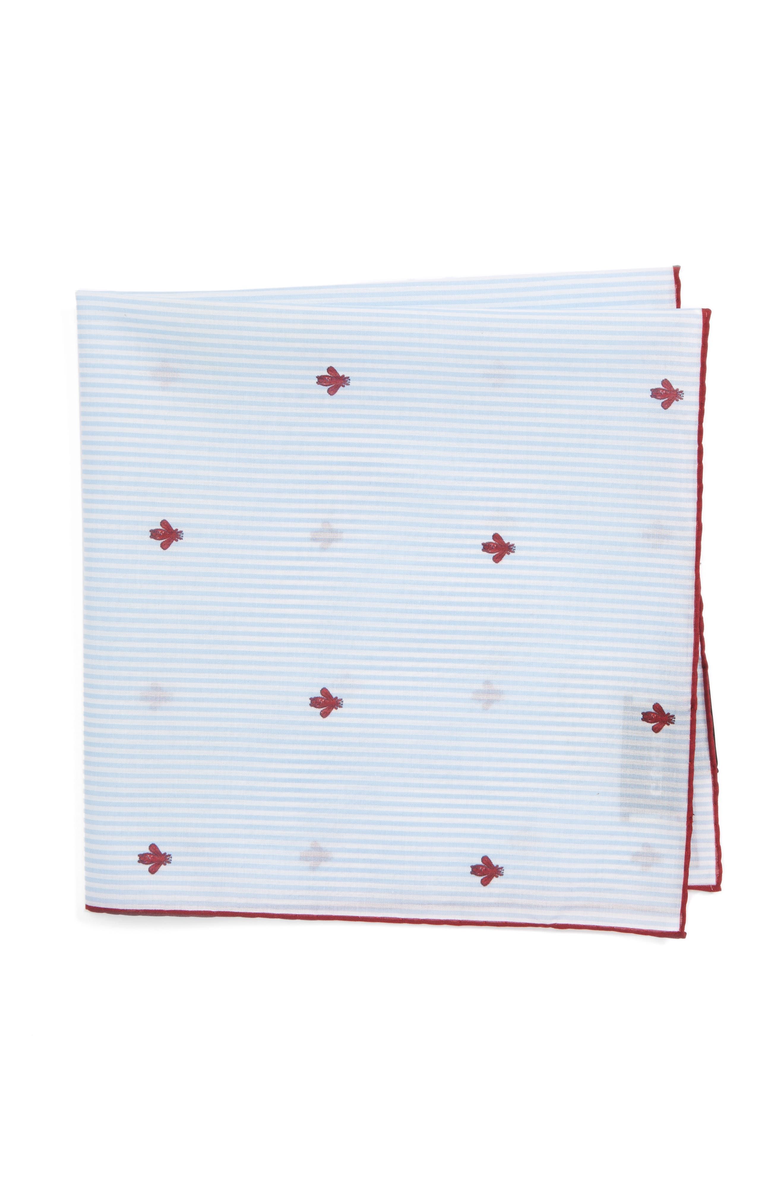 Embroidered Bee Pocket Sqaure,                         Main,                         color, 100