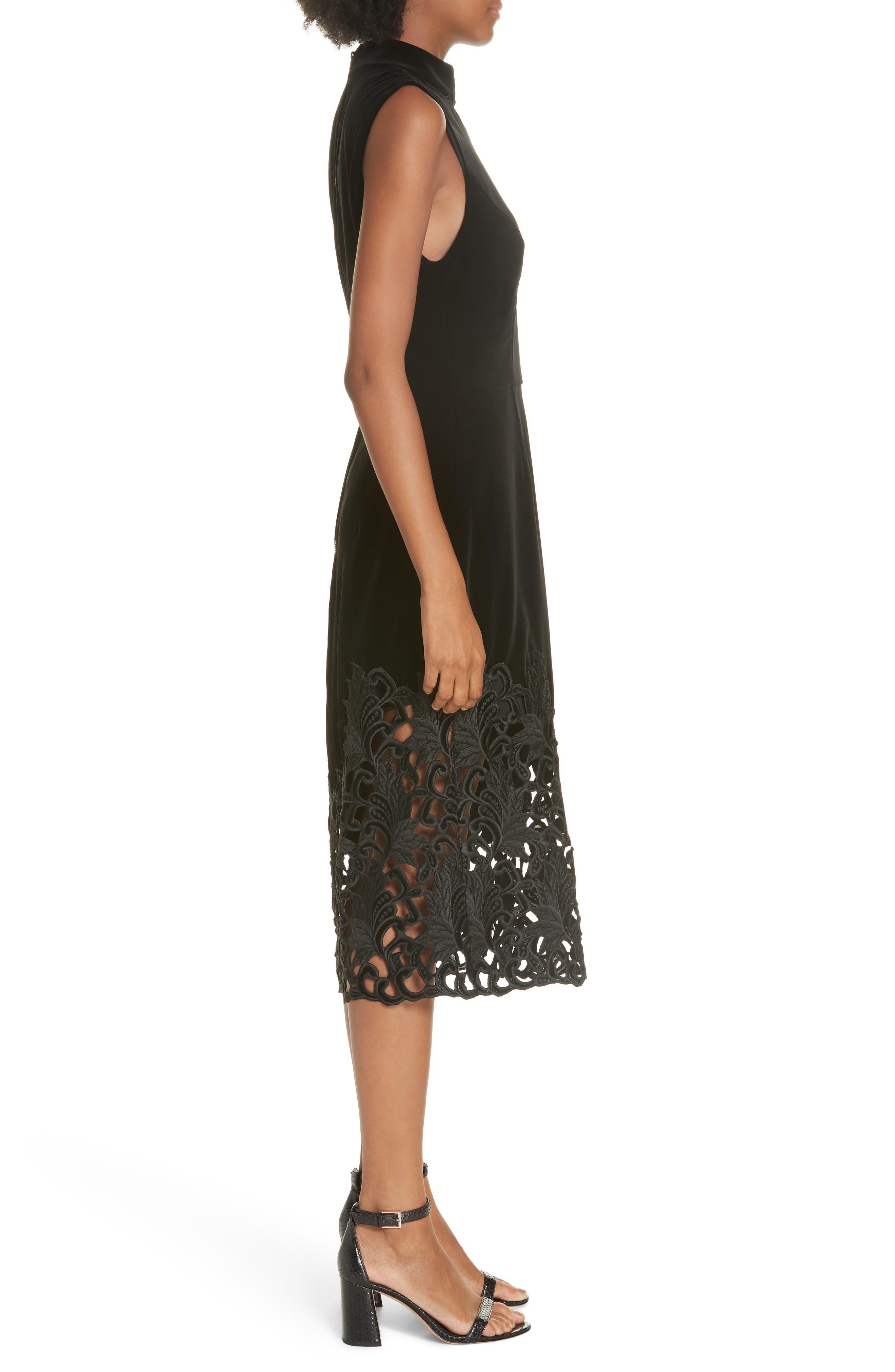 Kiana Velvet & Lace Midi Dress,                             Alternate thumbnail 3, color,                             001
