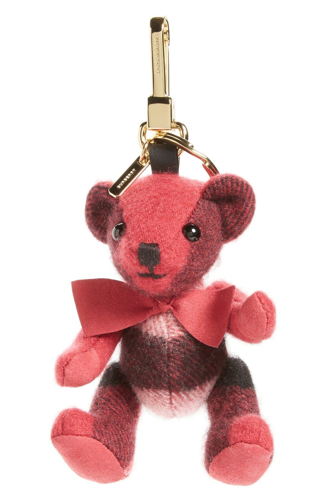 Thomas Bear Check Cashmere Bag Charm,                             Main thumbnail 2, color,