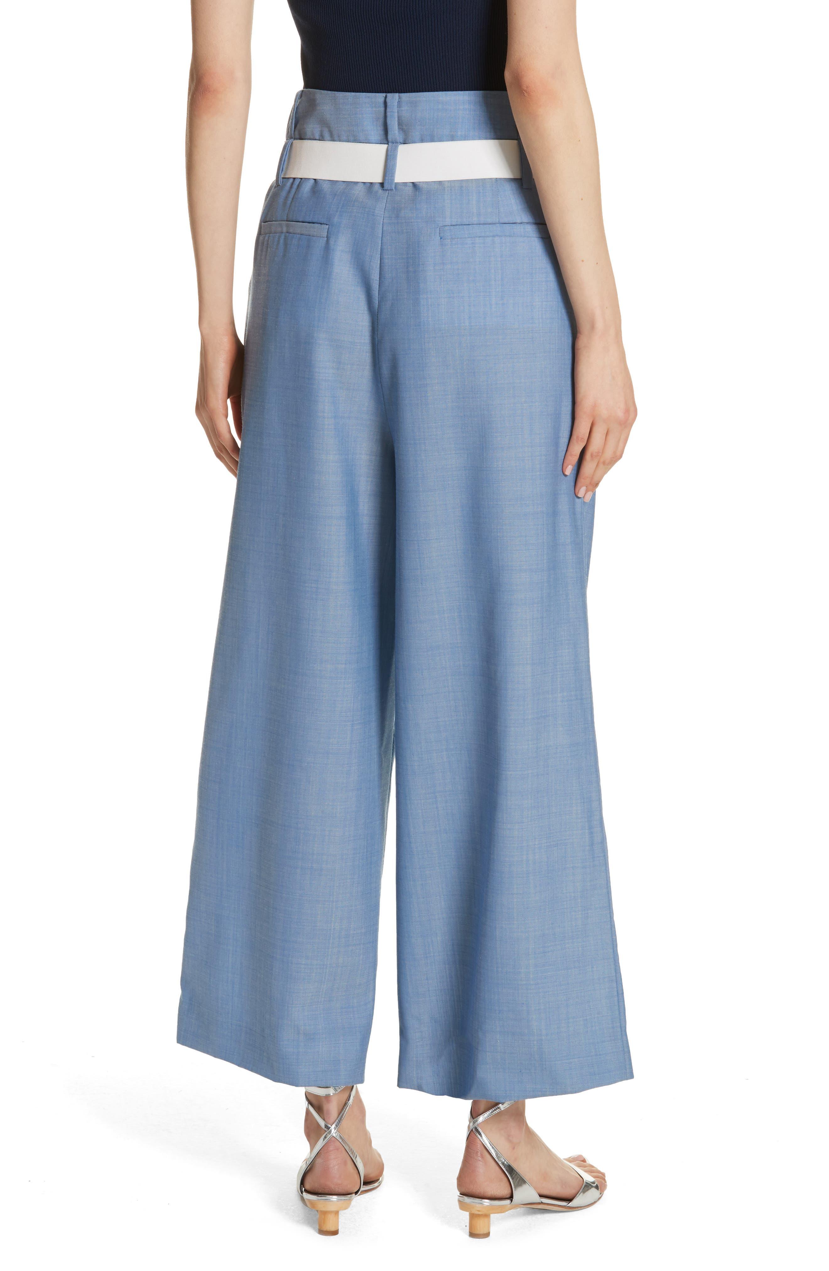 Belted Wide Leg Crop Pants,                             Alternate thumbnail 2, color,