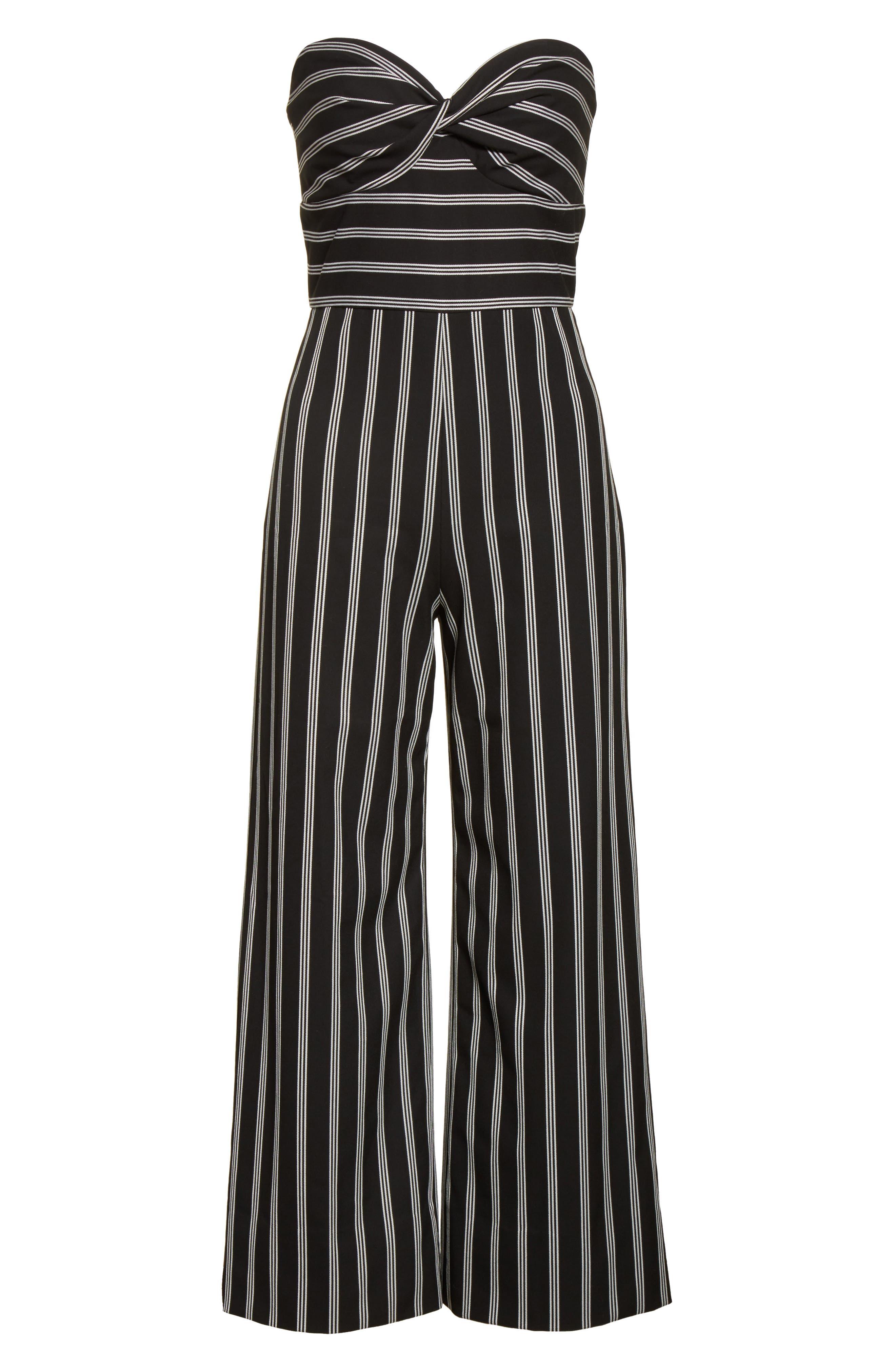 Cypress Stripe Strapless Jumpsuit,                             Alternate thumbnail 6, color,                             007