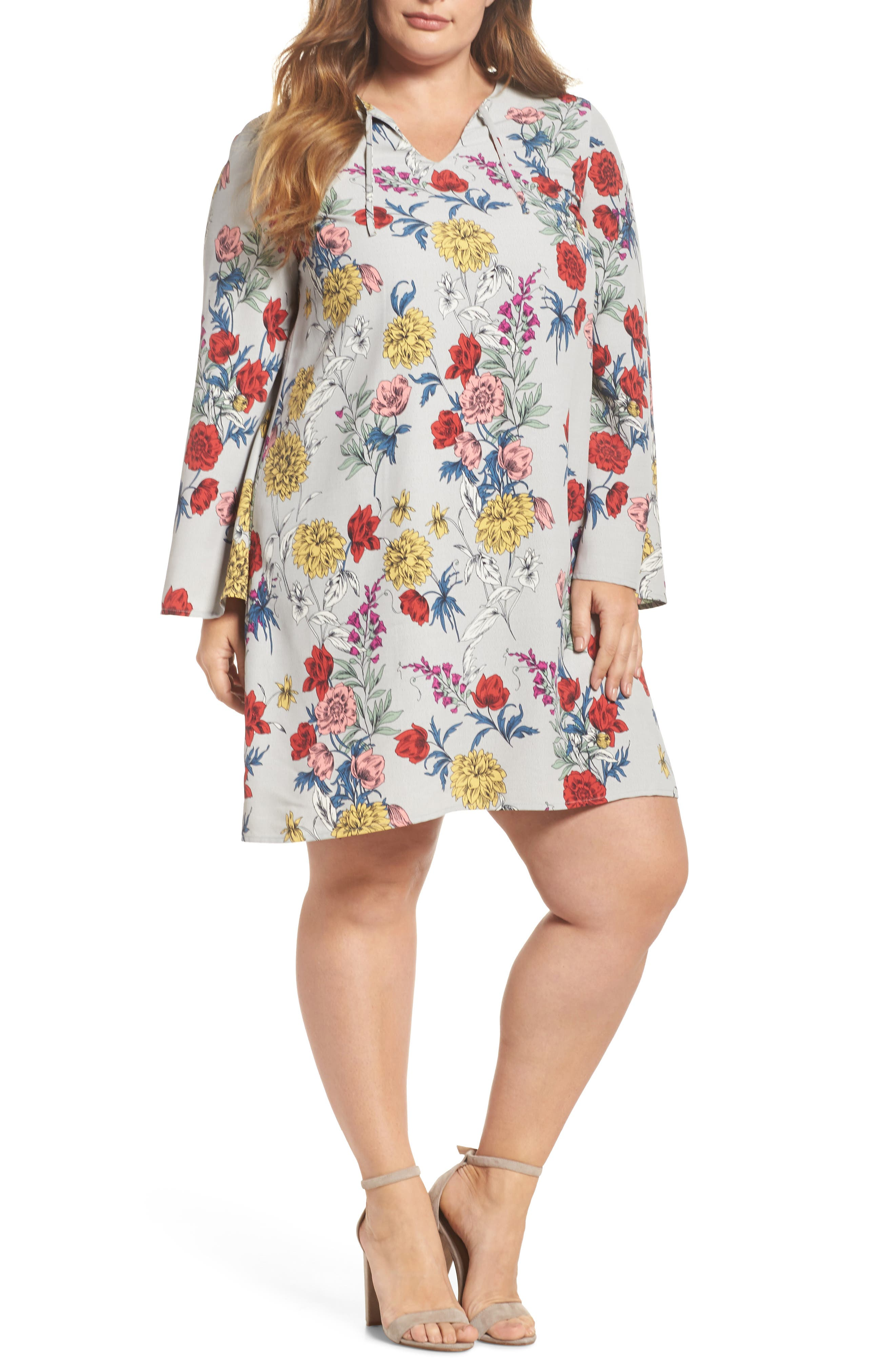 Print Bell Sleeve Shift Dress,                         Main,                         color,
