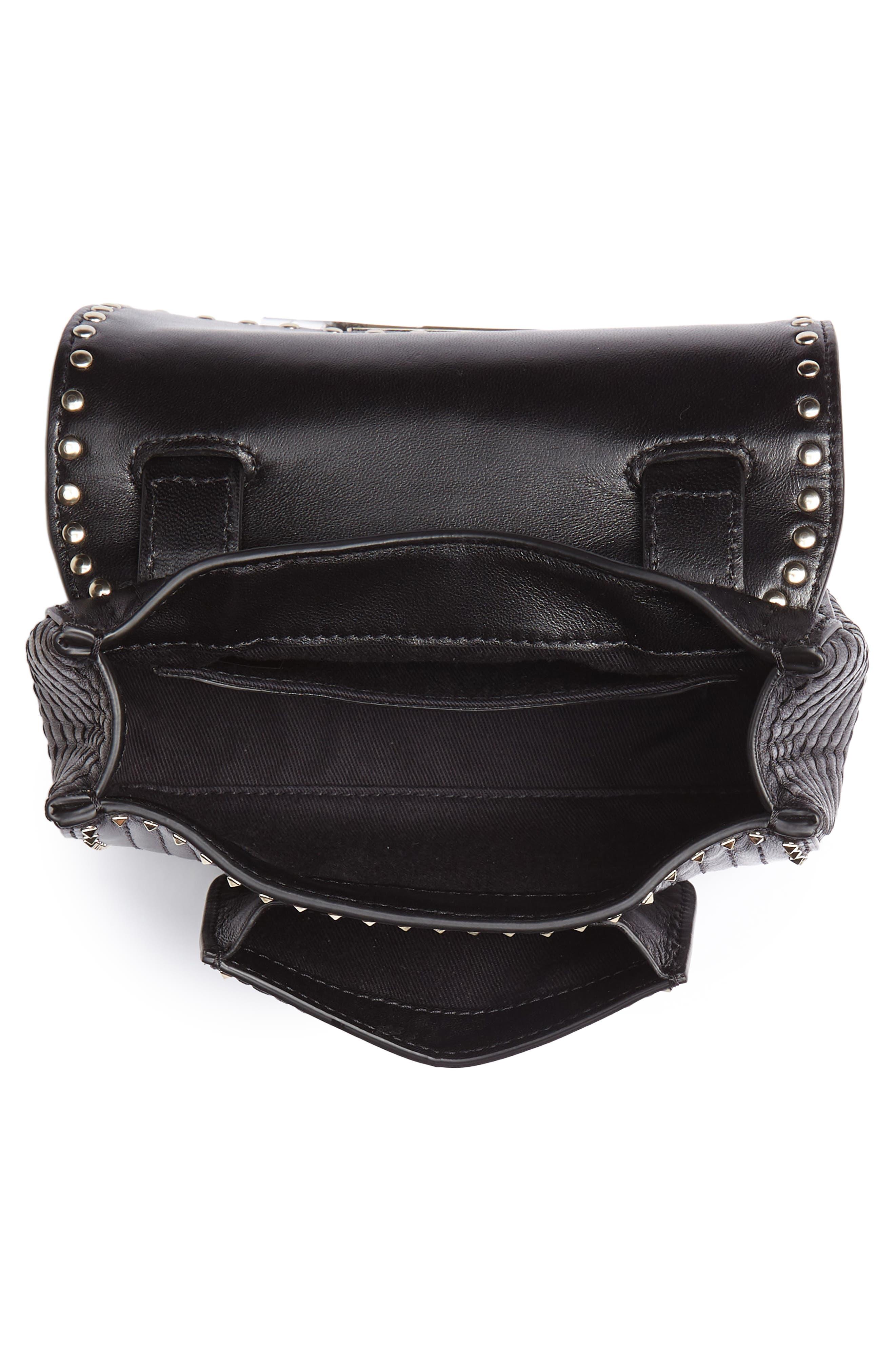 Mini Ziggystud Leather Convertible Crossbody/Belt Bag,                             Alternate thumbnail 6, color,                             001
