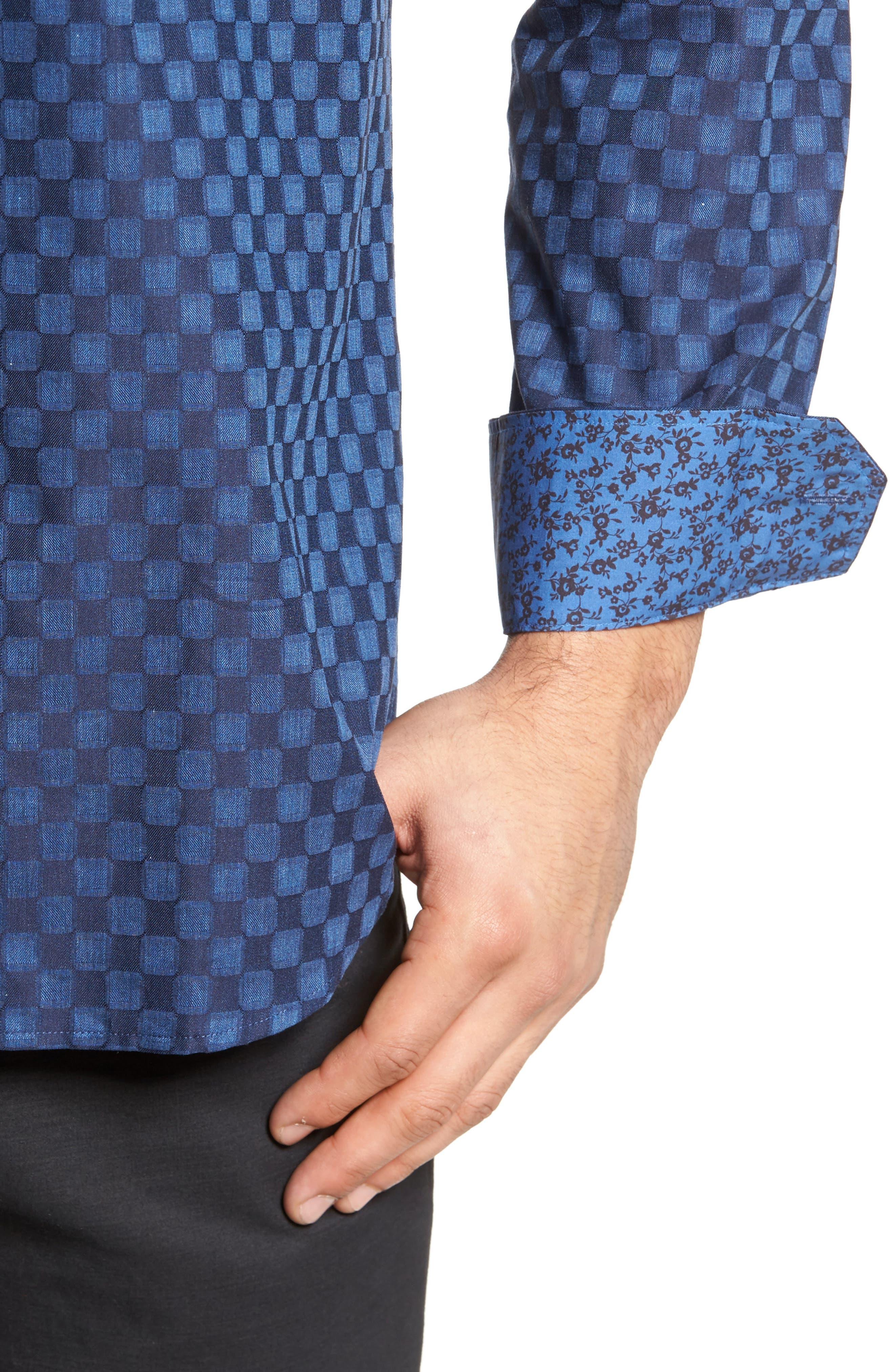 Slim Fit Square Jacquard Sport Shirt,                             Alternate thumbnail 4, color,                             408