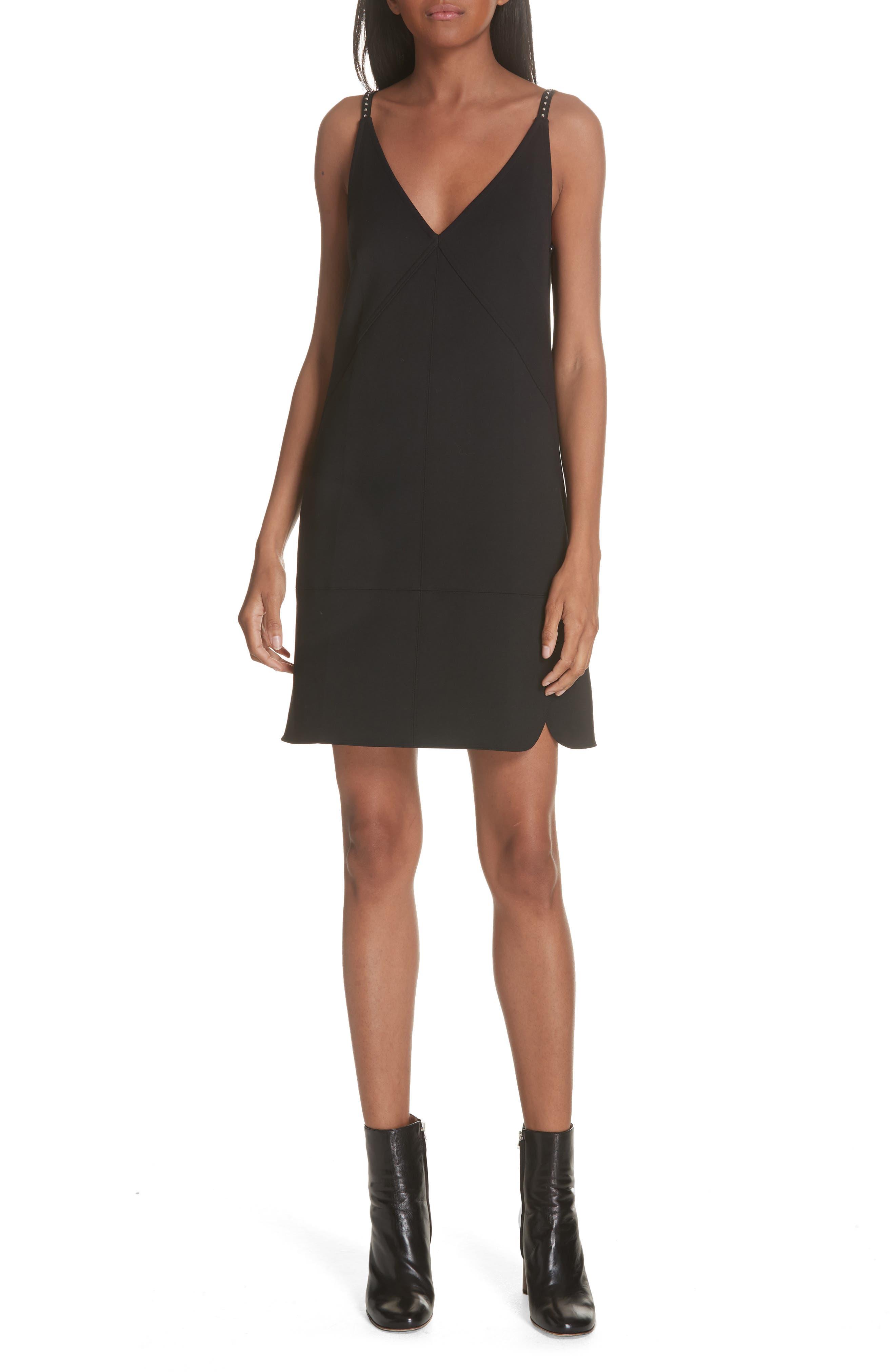 Studded Camisole Dress, Main, color, BLACK