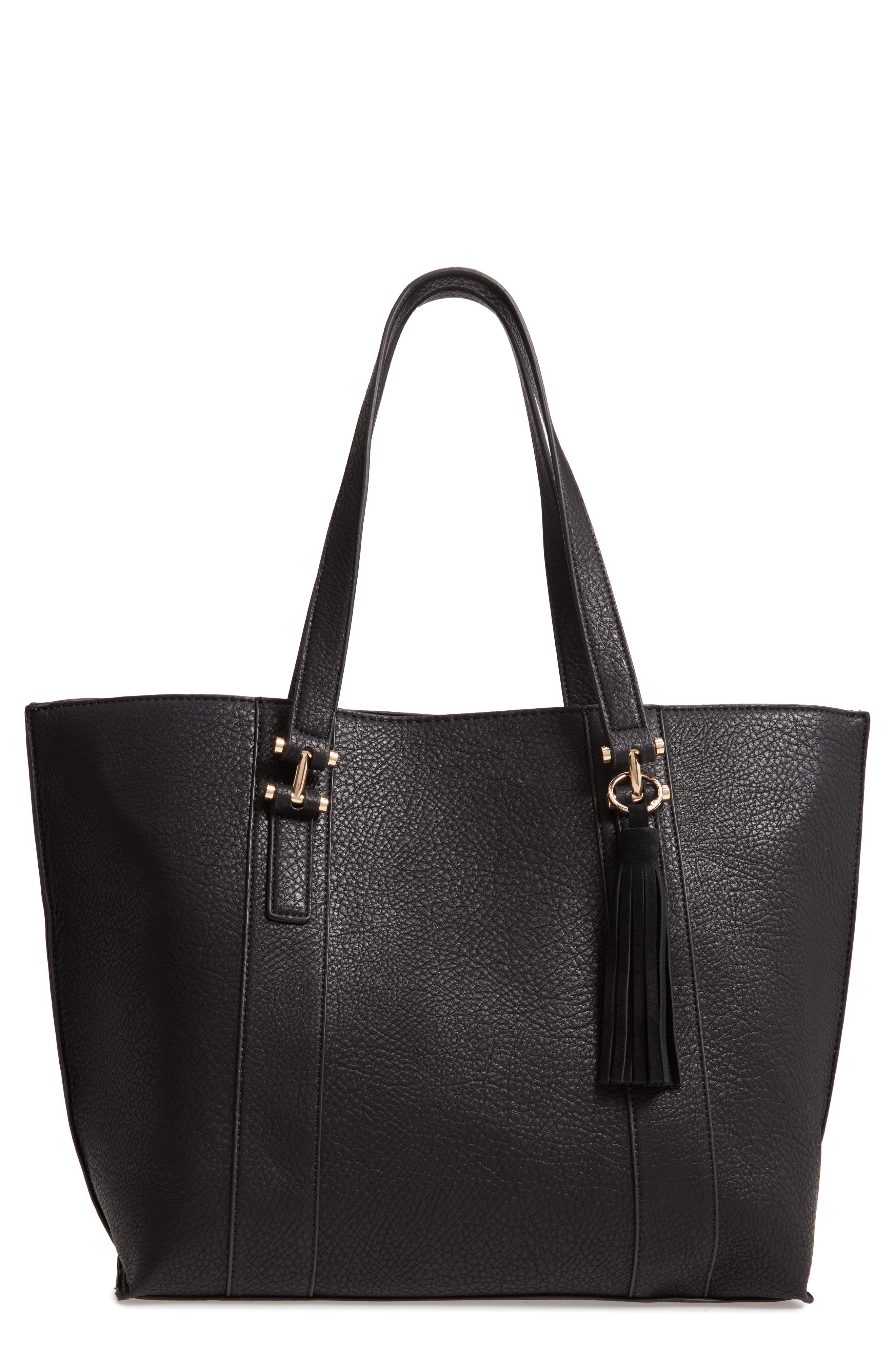 March Faux Leather Tote, Main, color, BLACK