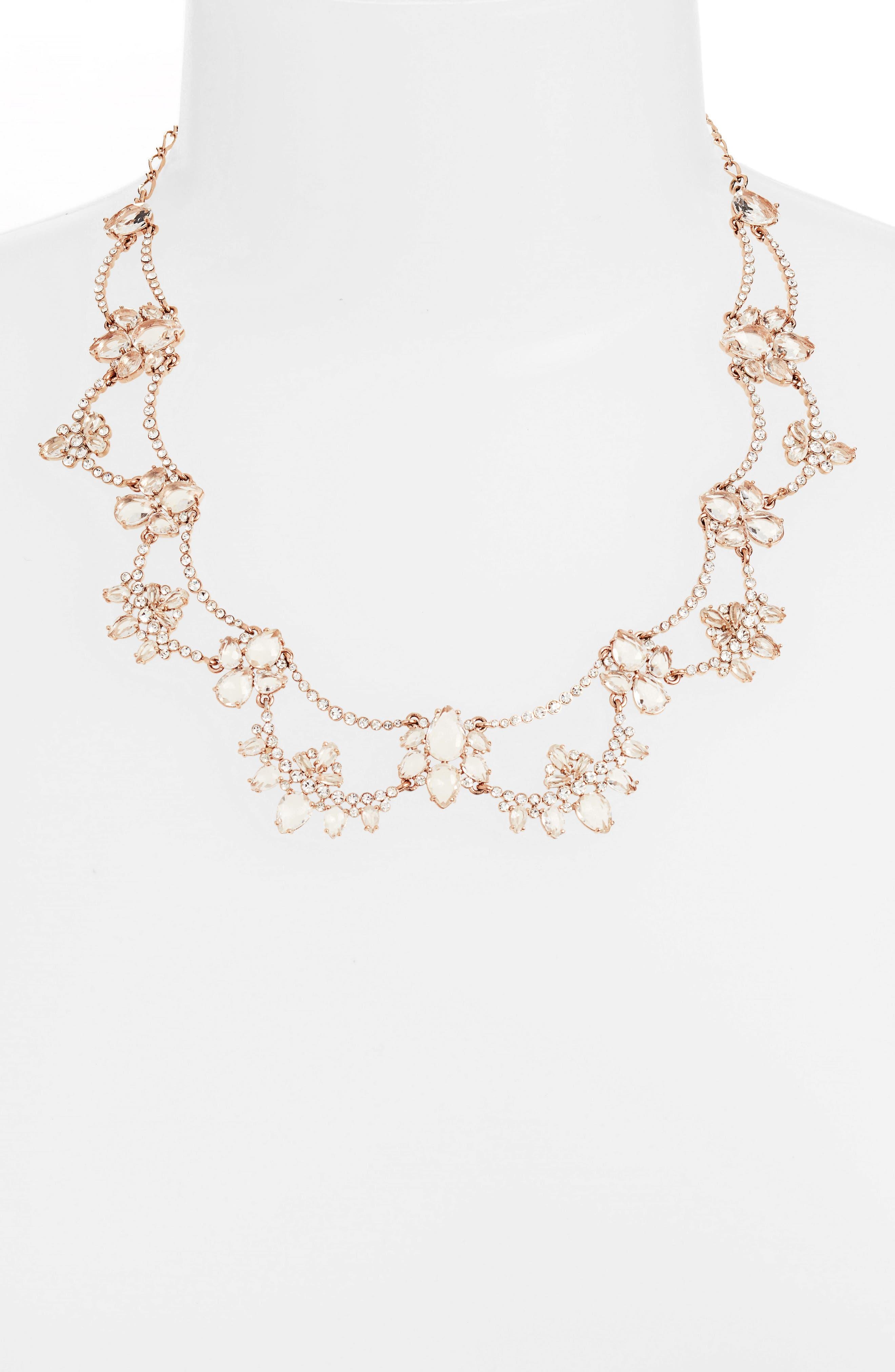 cascade crystal collar necklace,                             Alternate thumbnail 2, color,                             ROSE GOLD
