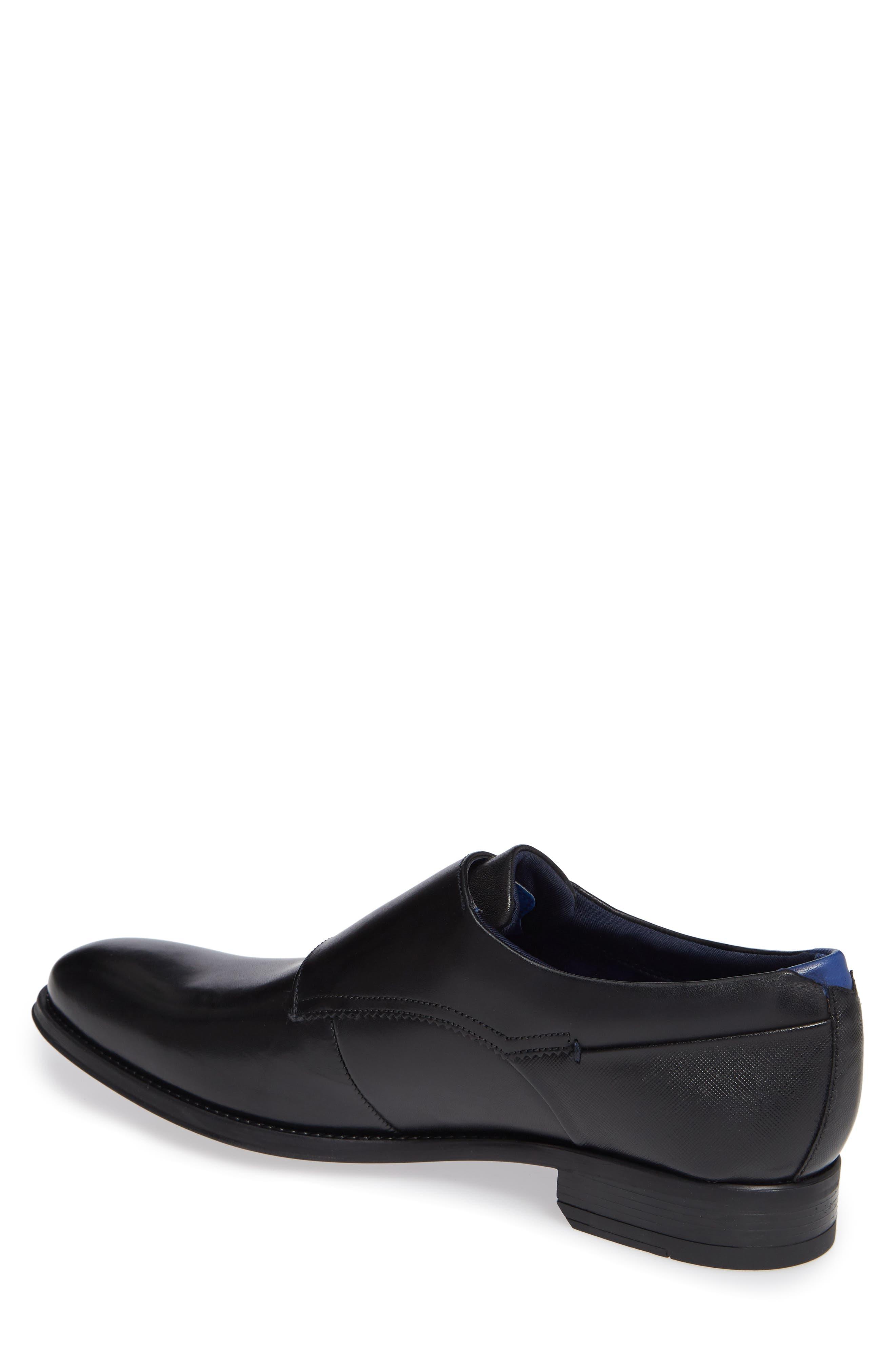 Cathon Double Buckle Monk Shoe,                             Alternate thumbnail 2, color,                             BLACK LEATHER