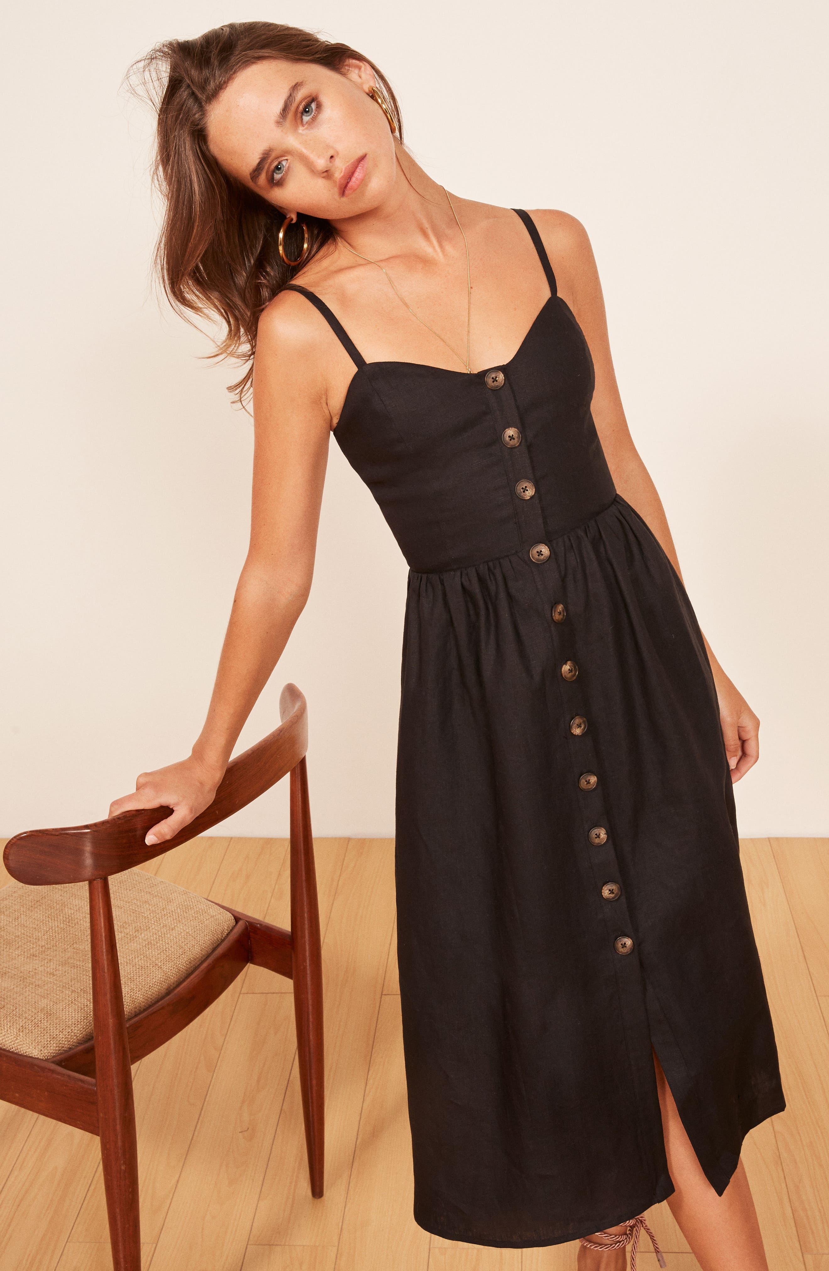 Thelma Linen Midi Dress,                             Alternate thumbnail 2, color,                             001