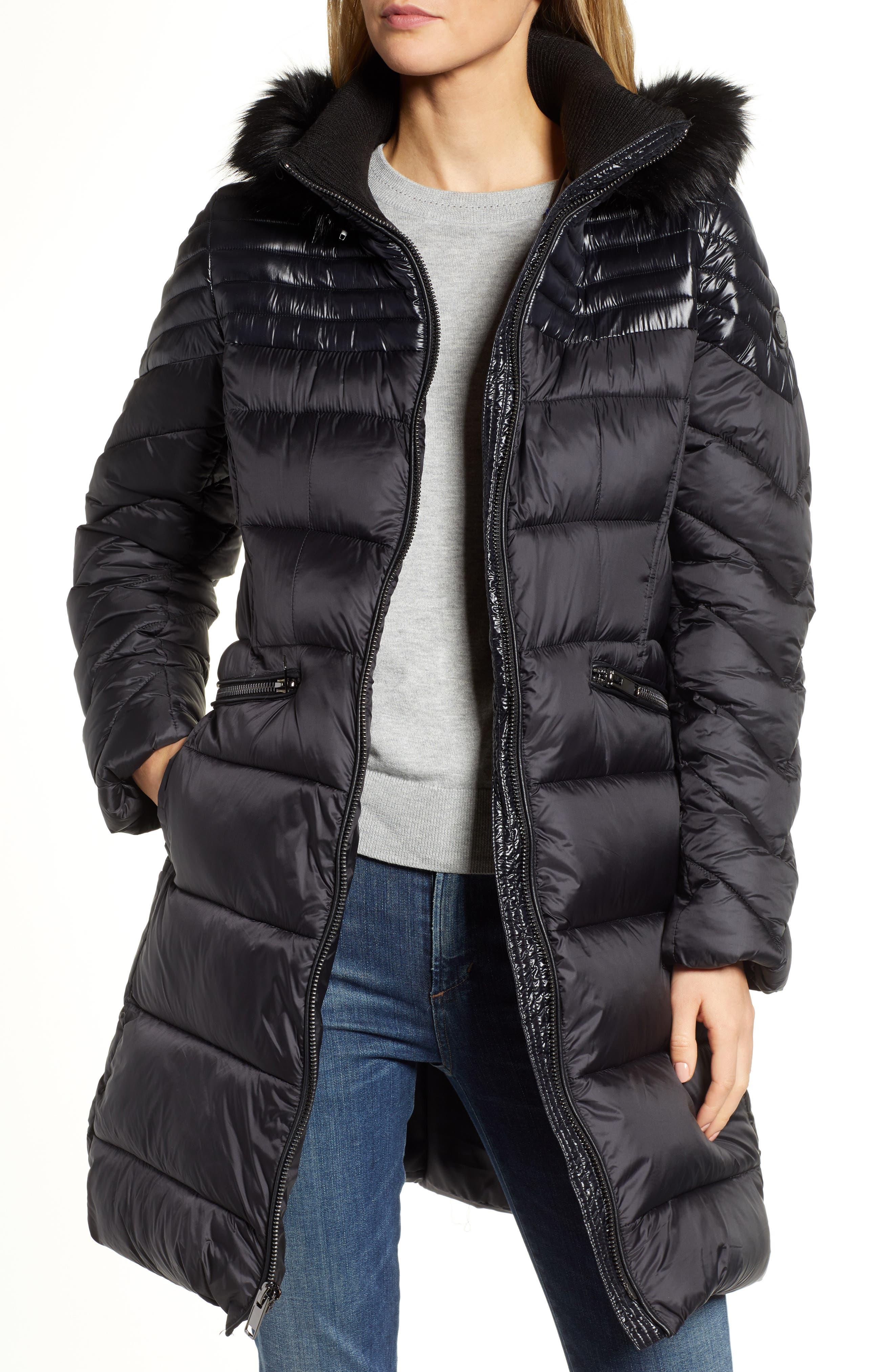 RACHEL RACHEL ROY Faux Fur Detail Water Resistant Puffer Coat, Main, color, BLACK