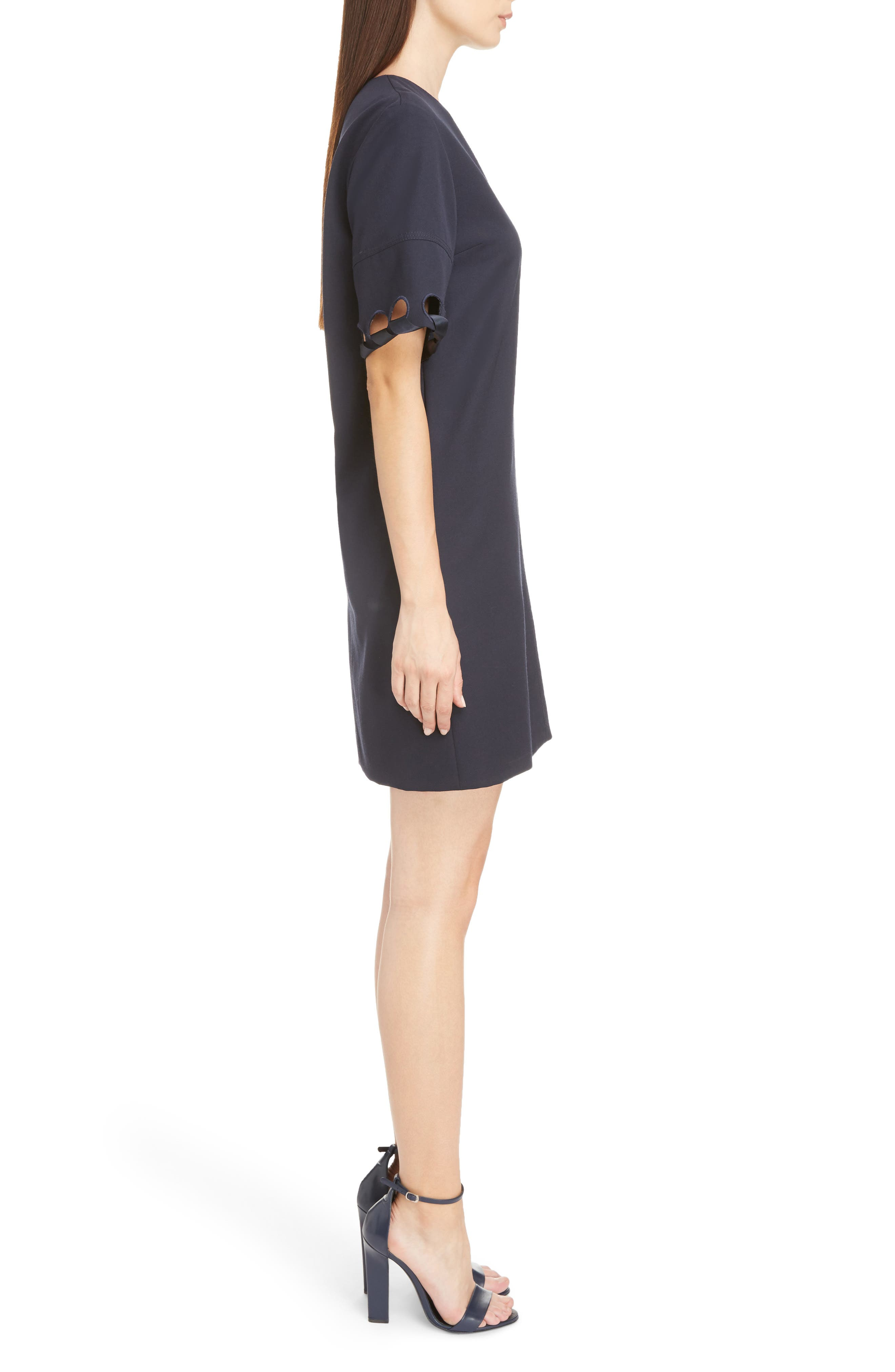 Lace Sleeve Wool Shift Dress,                             Alternate thumbnail 3, color,                             400