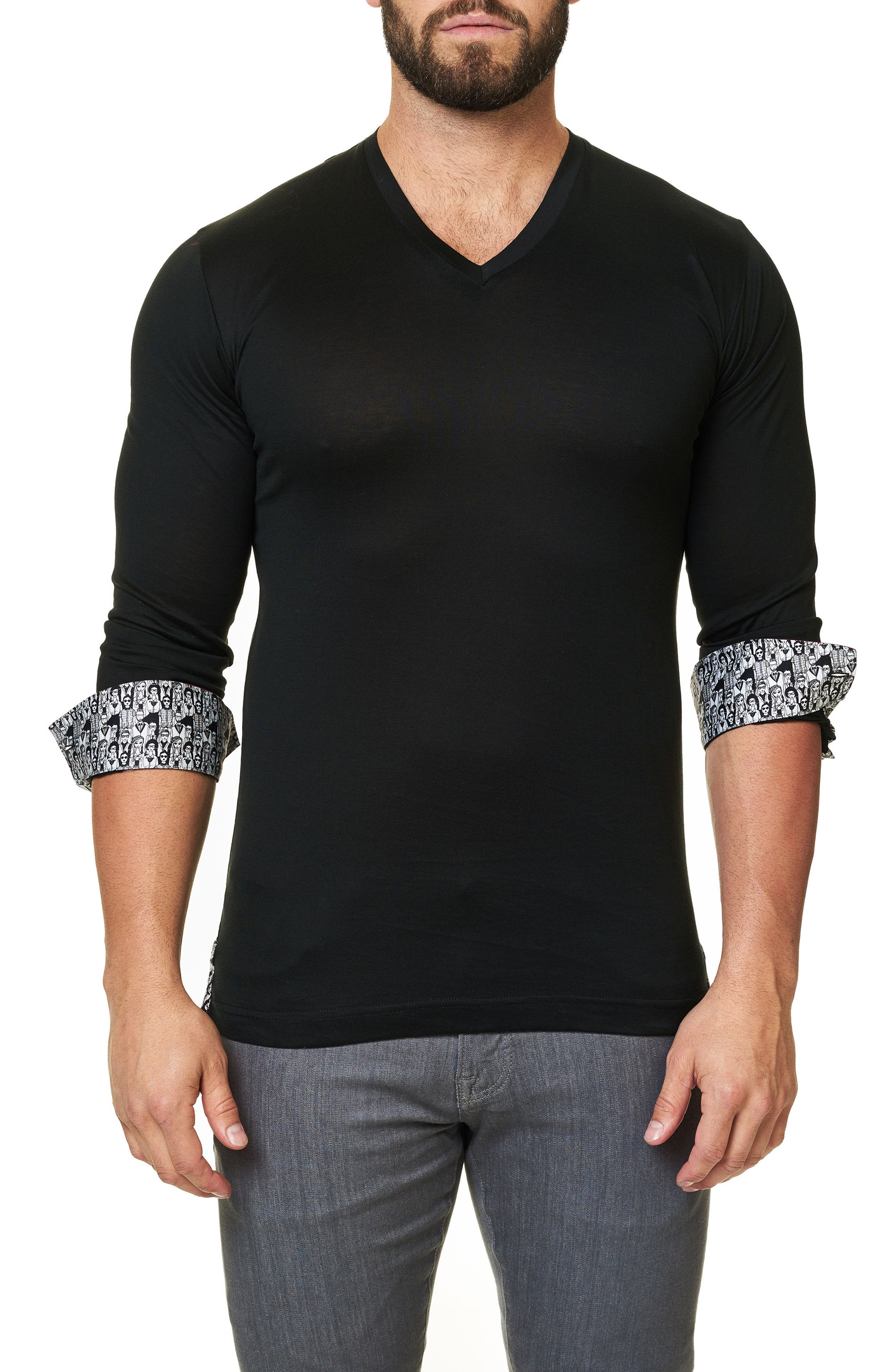 Long Sleeve V-Neck,                             Alternate thumbnail 2, color,                             002