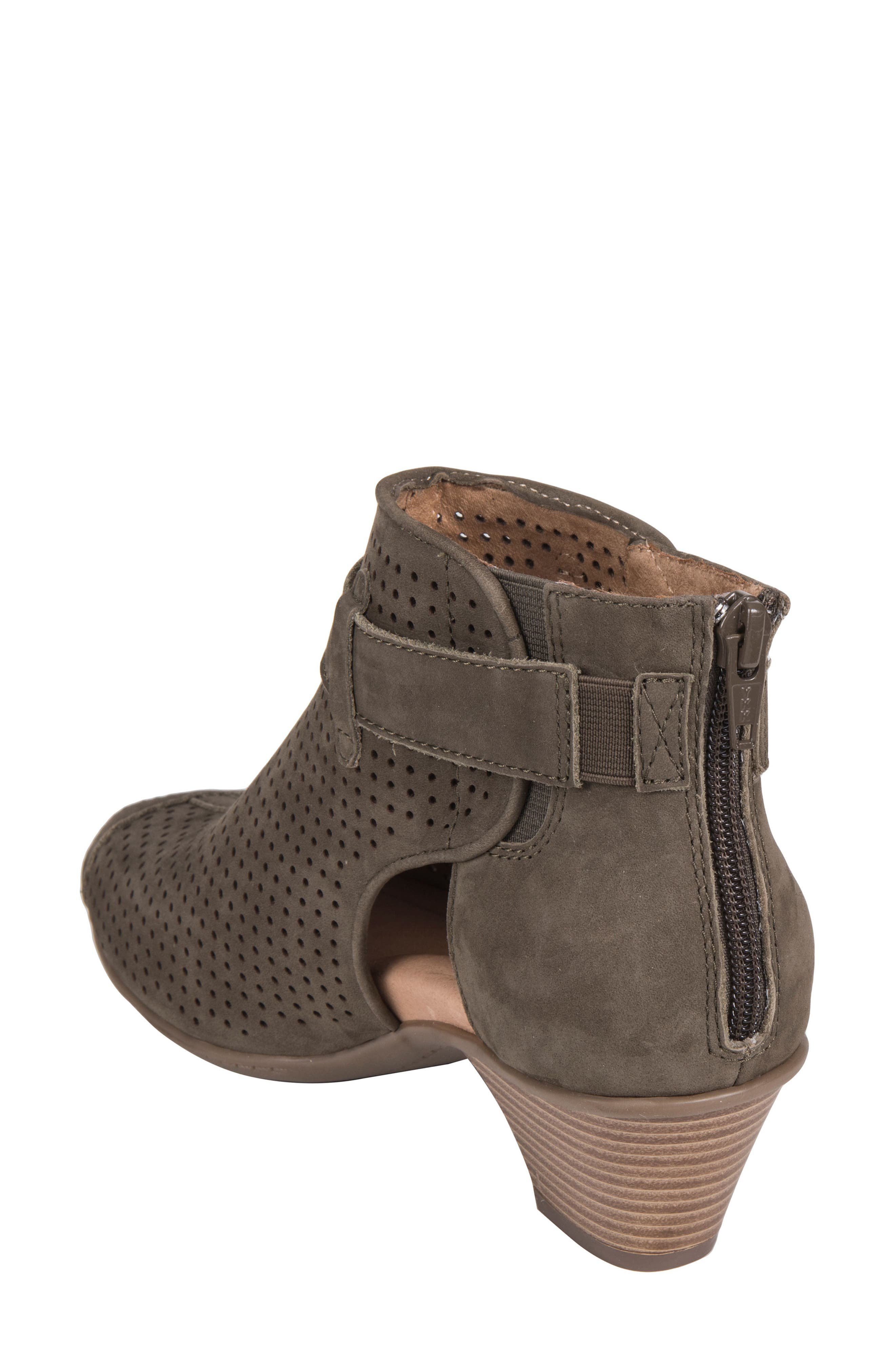 Intrepid Peep Toe Bootie,                             Alternate thumbnail 2, color,                             DARK OLIVE NUBUCK