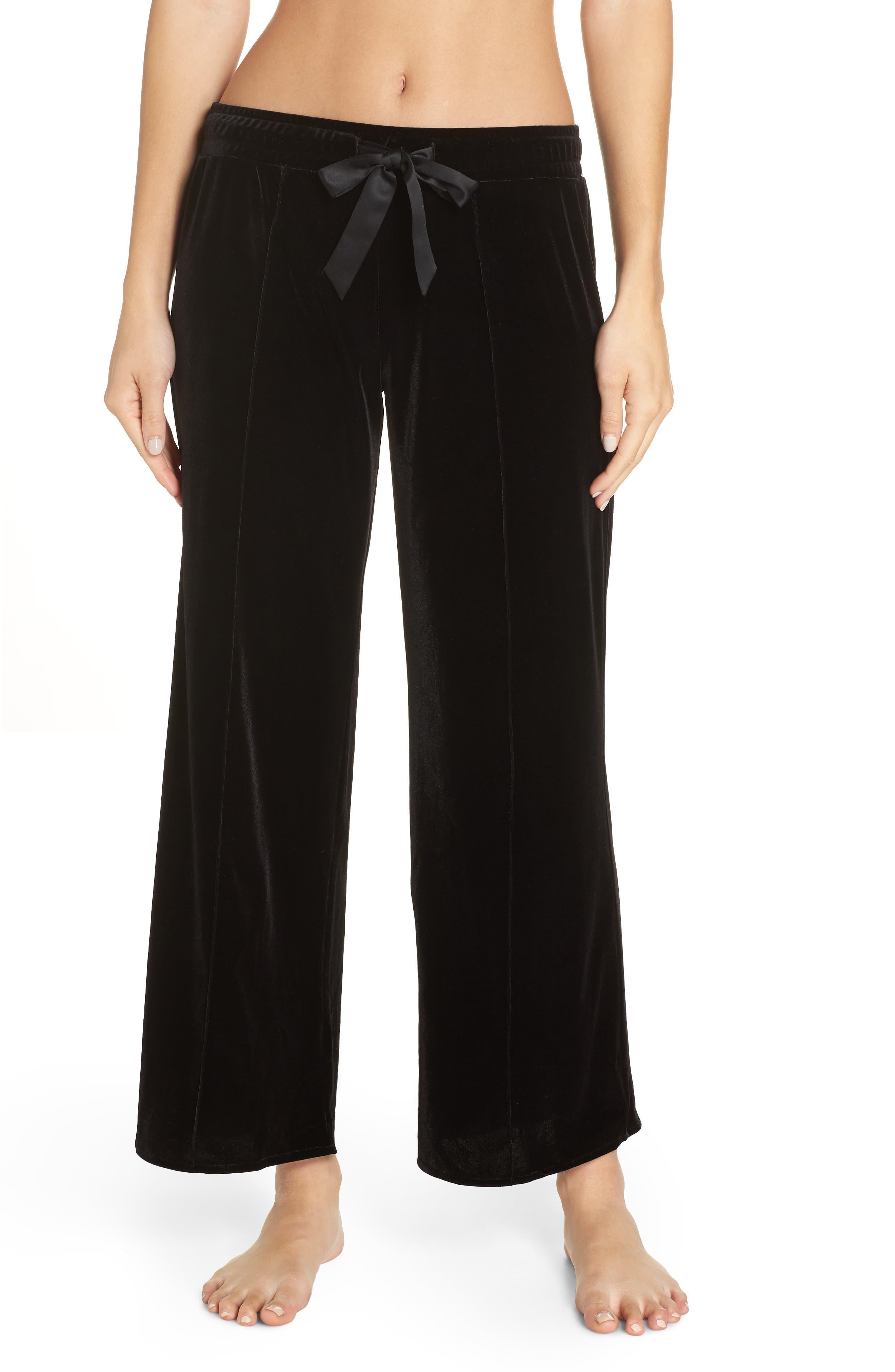Dream Away Velour Lounge Pants,                         Main,                         color, BLACK