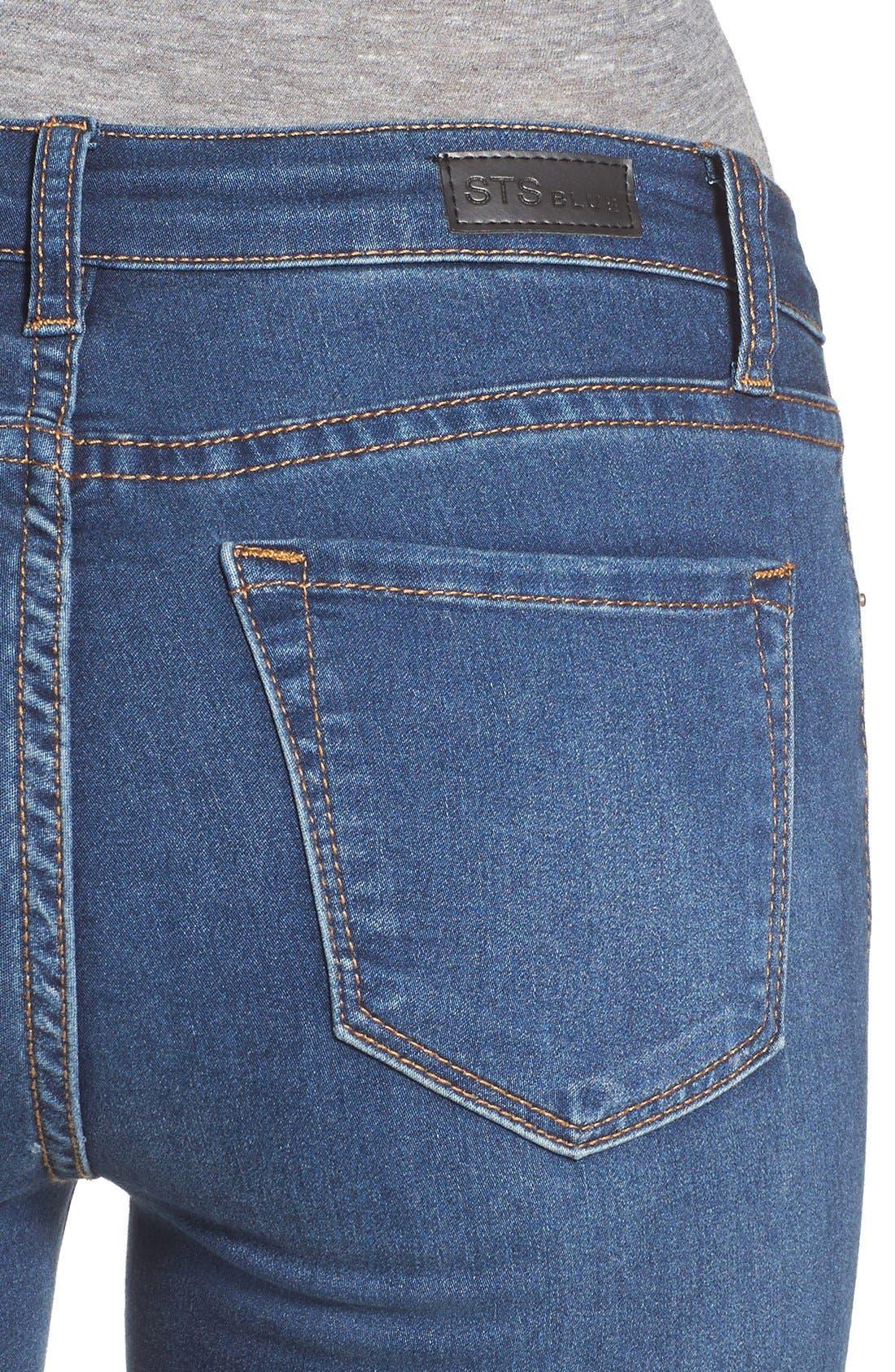 Crop Flare Jeans,                             Alternate thumbnail 4, color,                             400