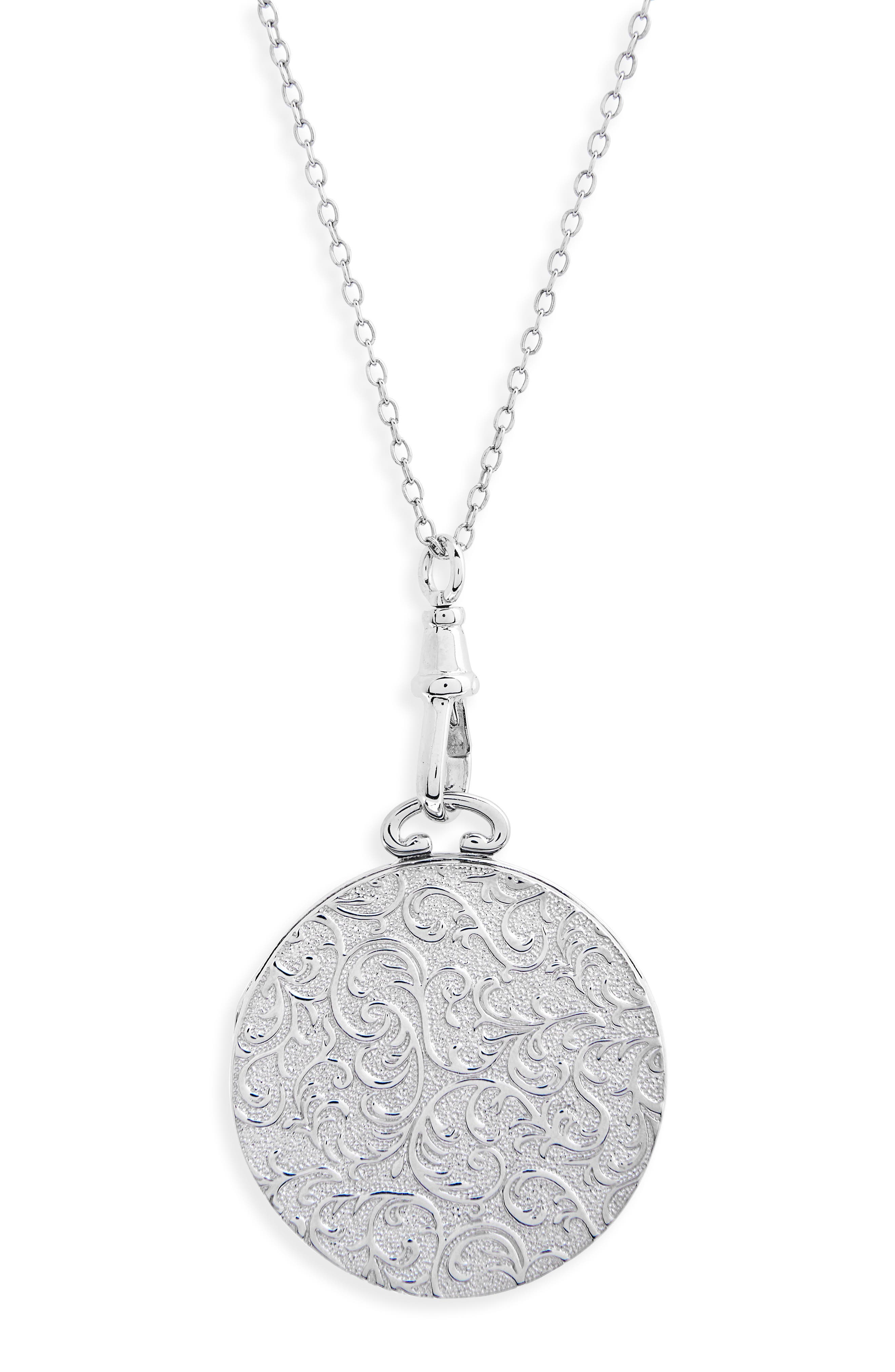 Swirling Vine Round Locket Necklace,                             Alternate thumbnail 2, color,                             STERLING SILVER