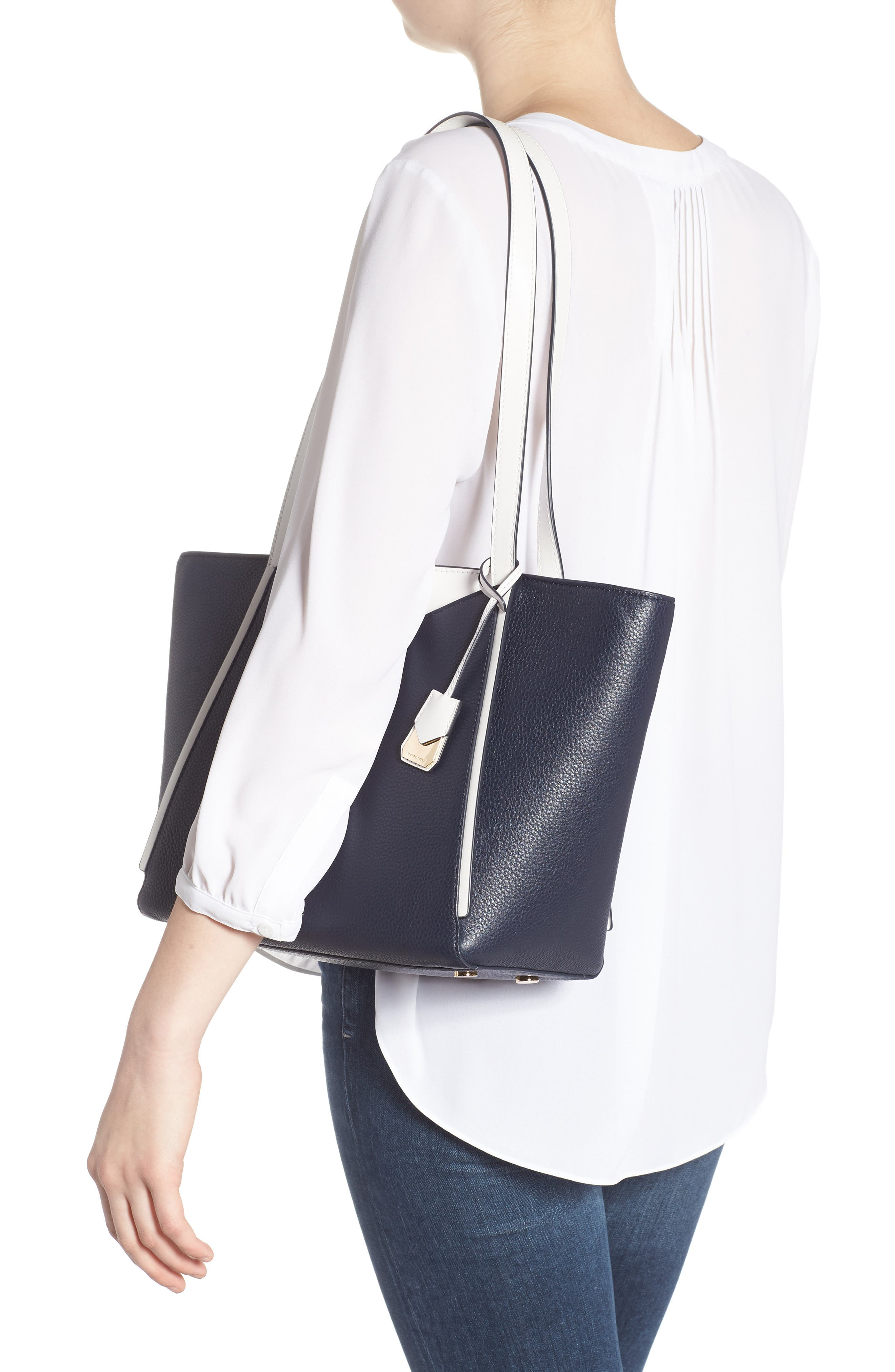 Small Whitney Leather Tote,                             Alternate thumbnail 7, color,
