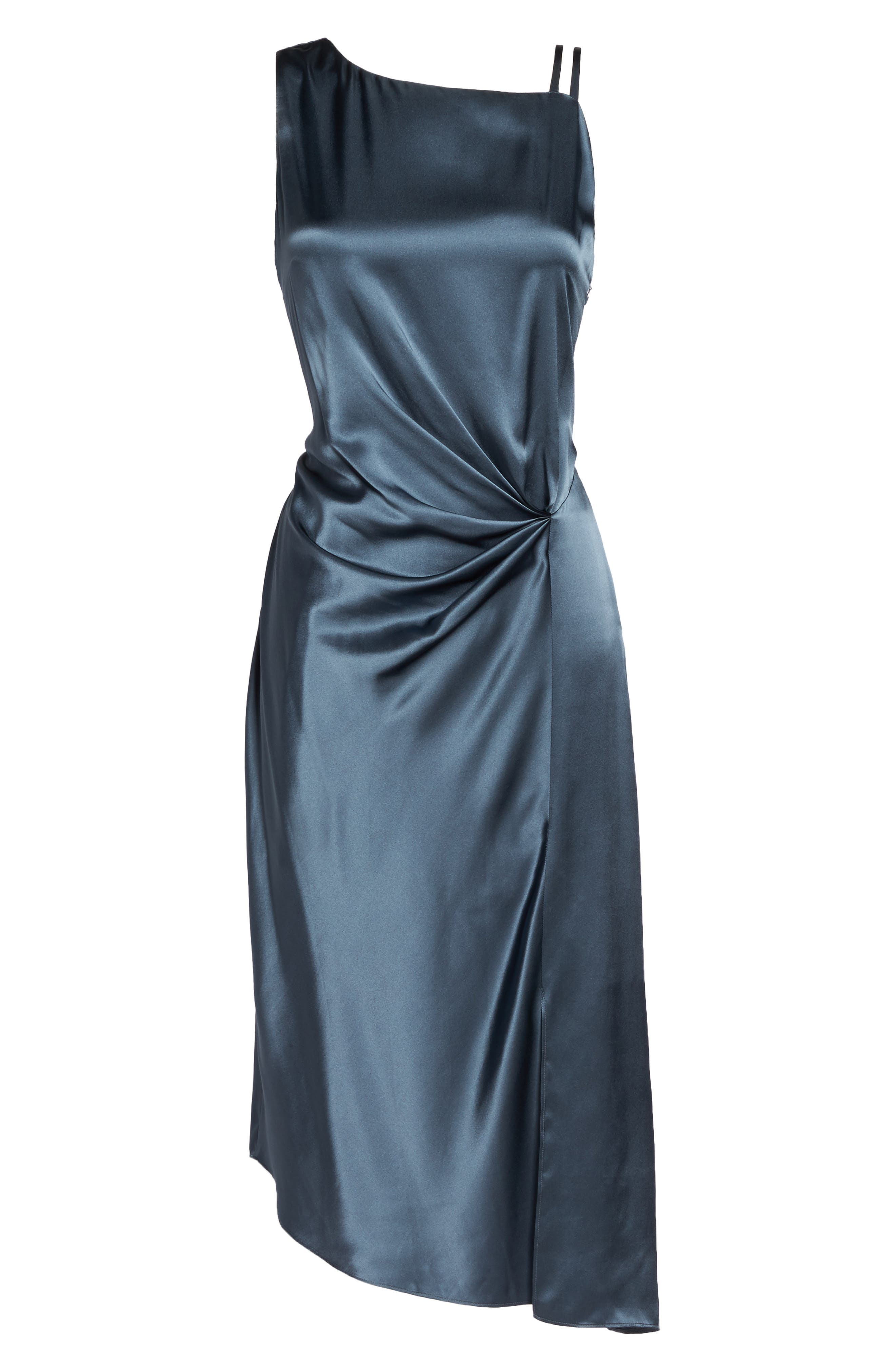 Ruched Satin Sheath Dress,                             Alternate thumbnail 6, color,                             451