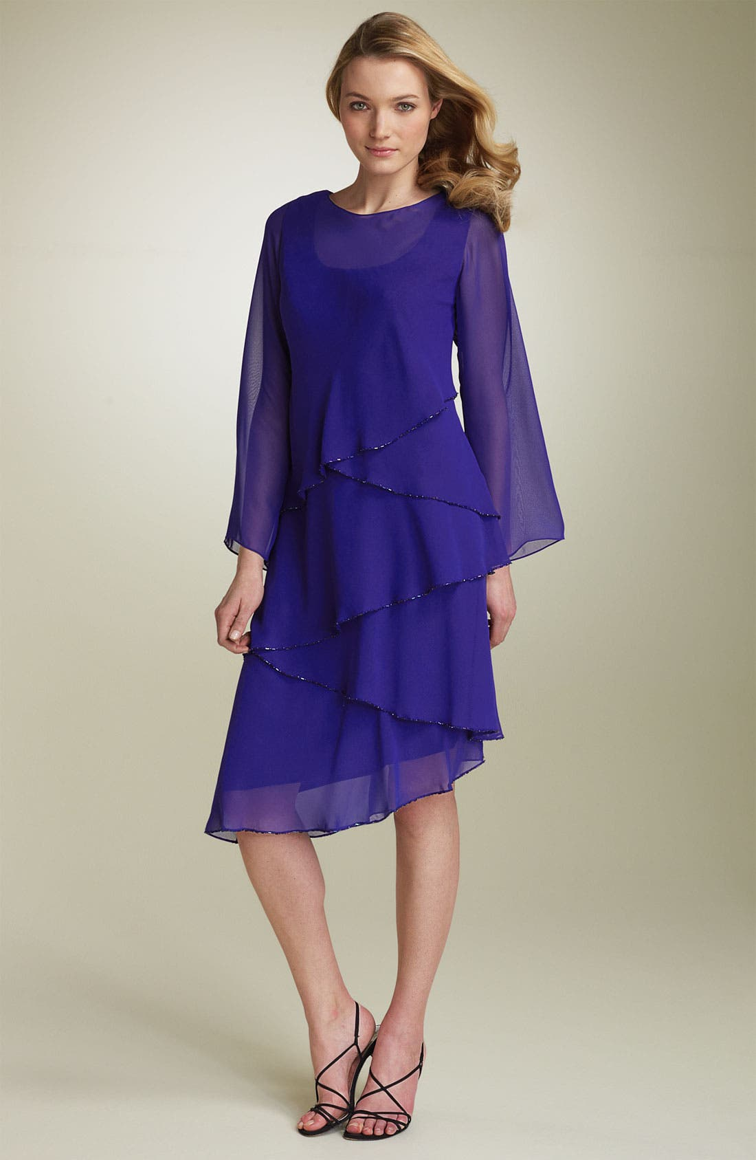 Tiered Chiffon Dress,                             Main thumbnail 1, color,                             428