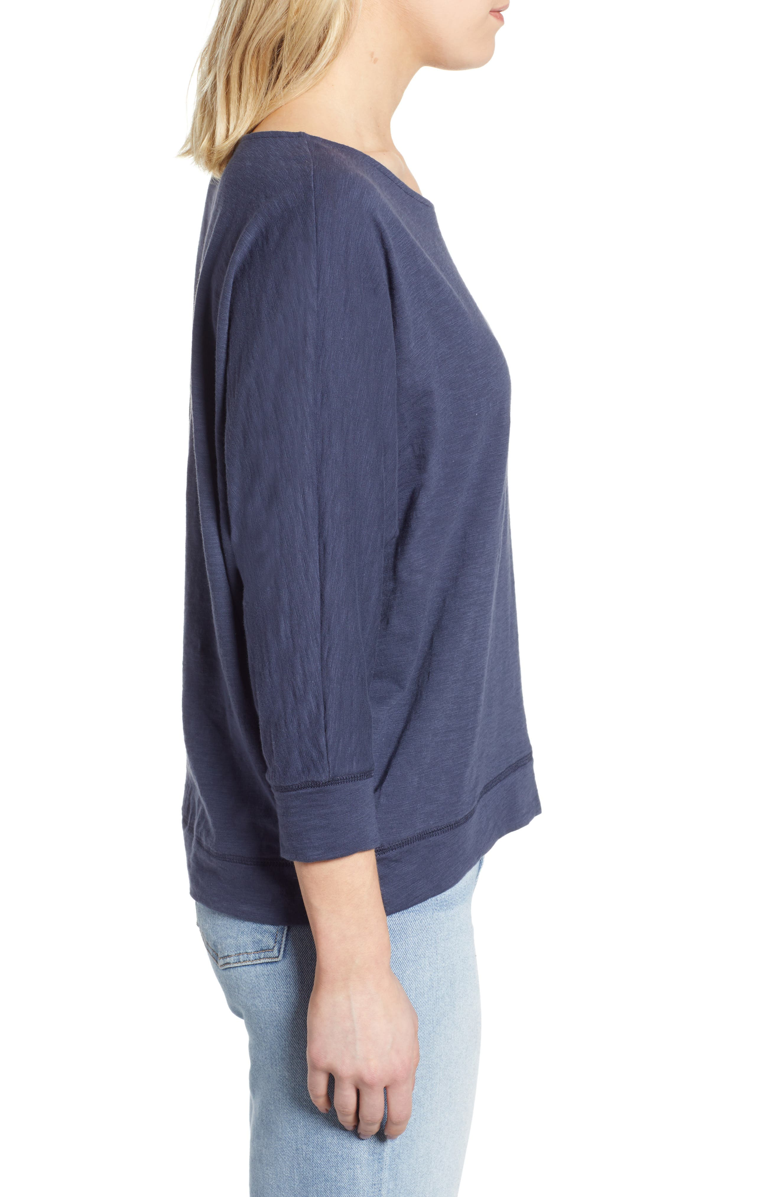CASLON<SUP>®</SUP>,                             Off-Duty Dolman Sleeve Tee,                             Alternate thumbnail 3, color,                             NAVY PEACOAT