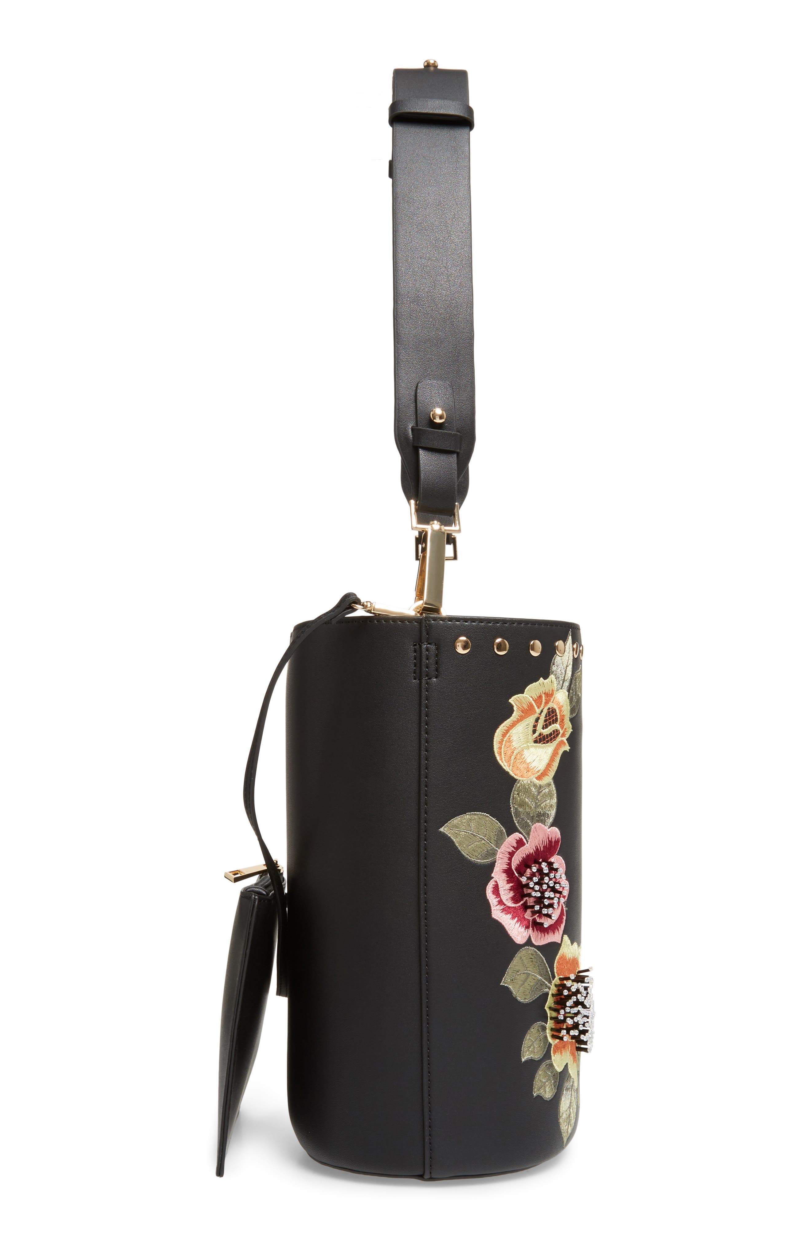 Sadie Floral Faux Leather Bucket Bag,                             Alternate thumbnail 5, color,