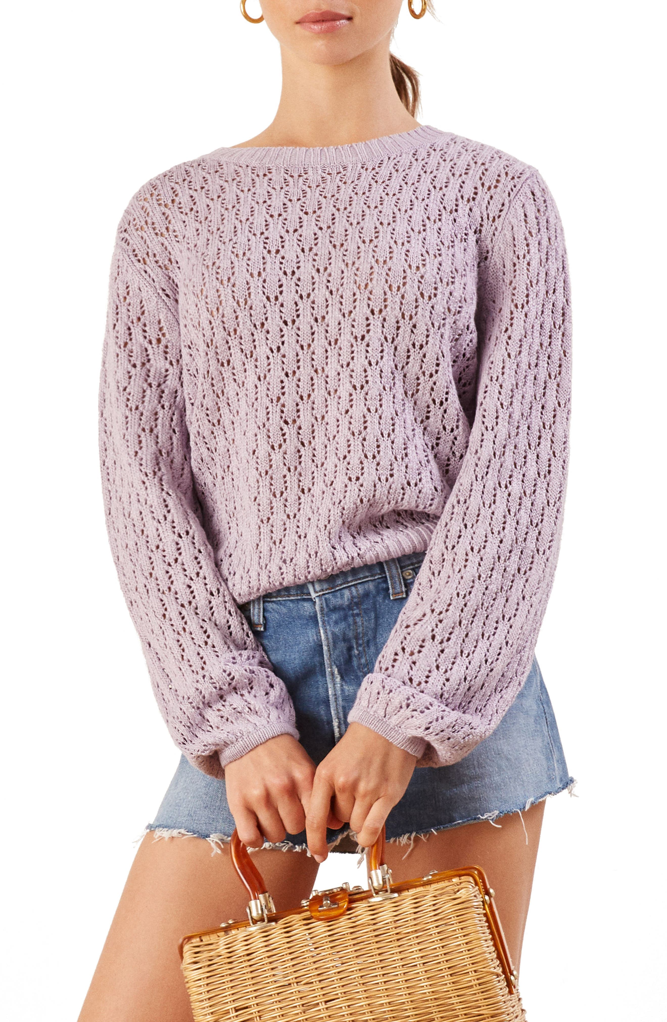 Rose Pointelle Linen Sweater,                         Main,                         color, LILAC