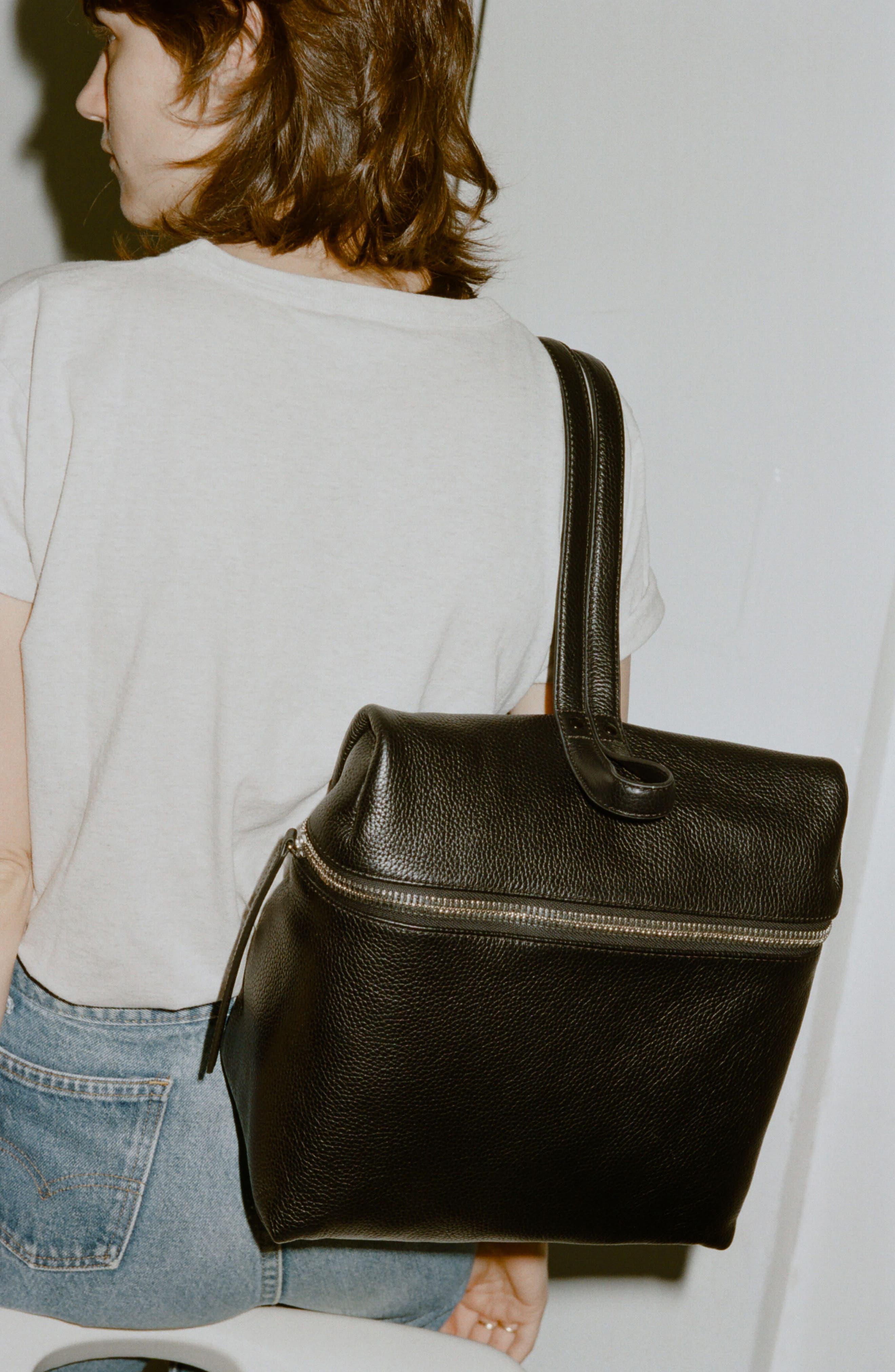 Leather Backpack,                             Alternate thumbnail 12, color,                             BLACK