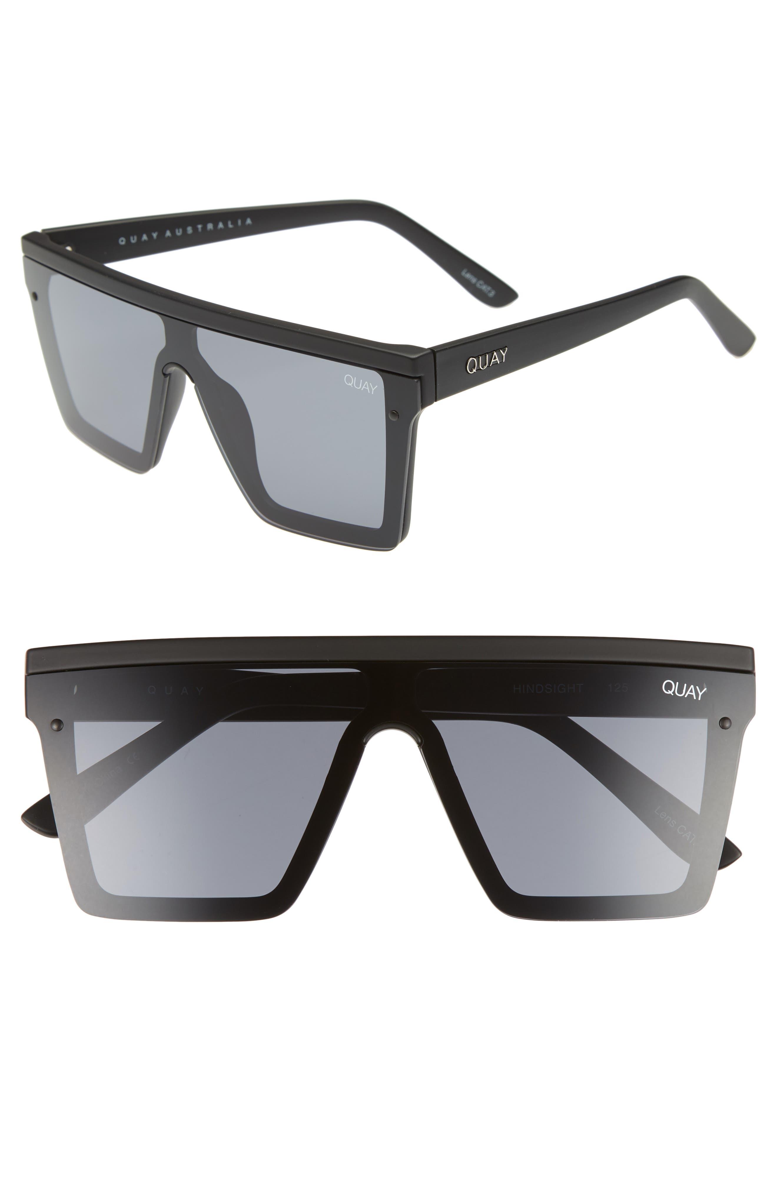 Hindsight 150mm Shield Sunglasses,                             Main thumbnail 1, color,                             BLACK/ SMOKE
