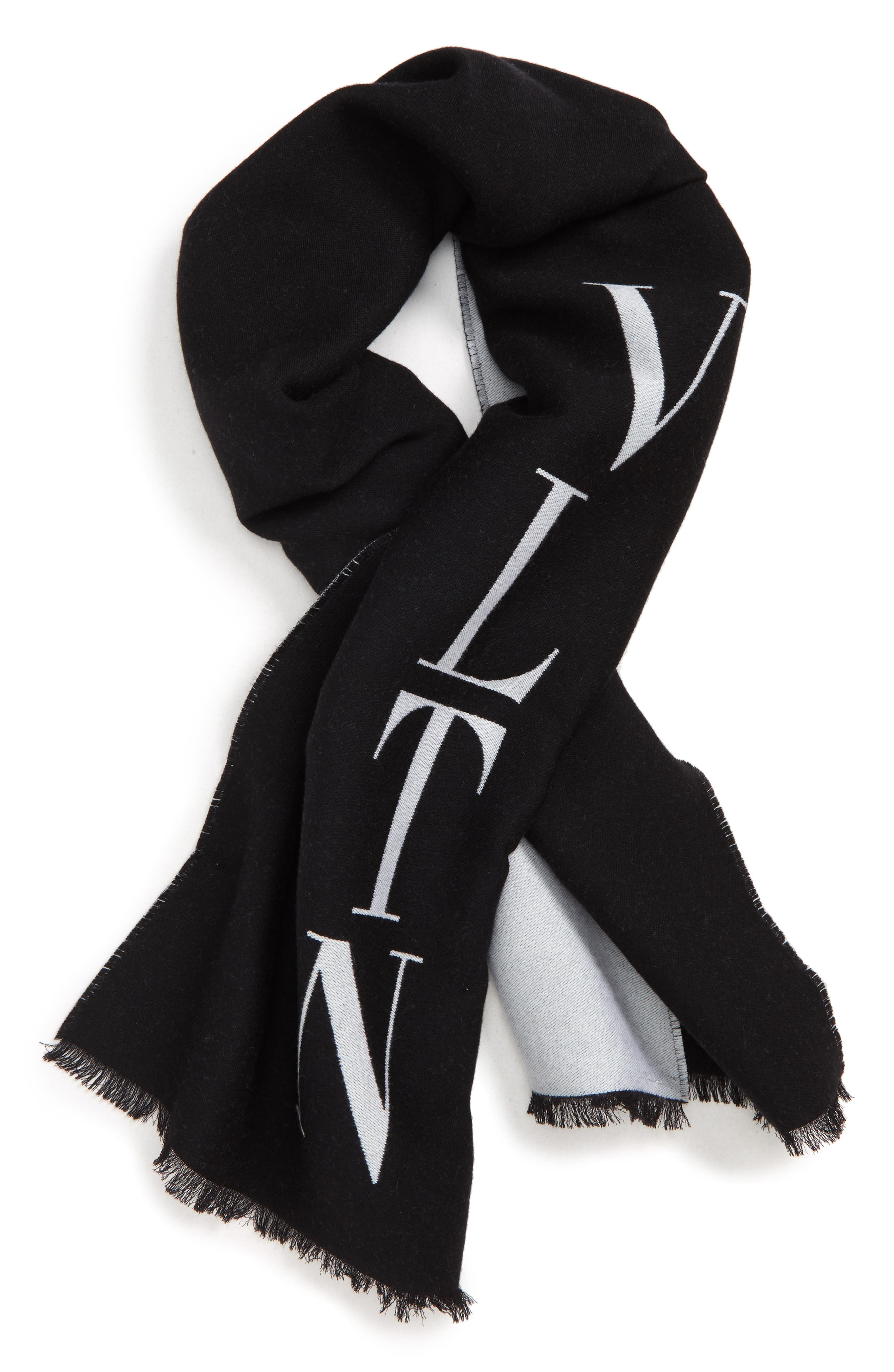 VLTN Logo Wool Scarf,                             Main thumbnail 1, color,                             002