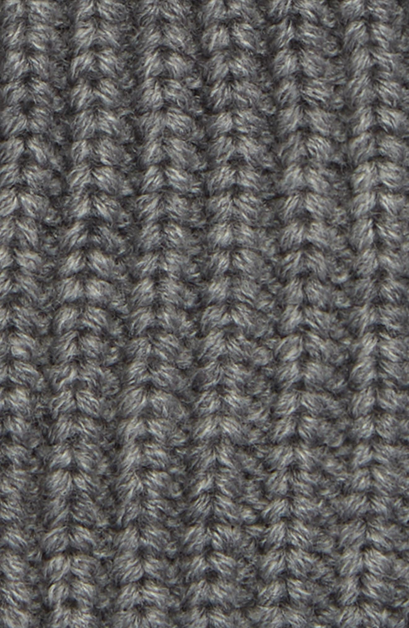 Half Cardigan Stitch Beanie,                             Alternate thumbnail 2, color,                             GREY MARL
