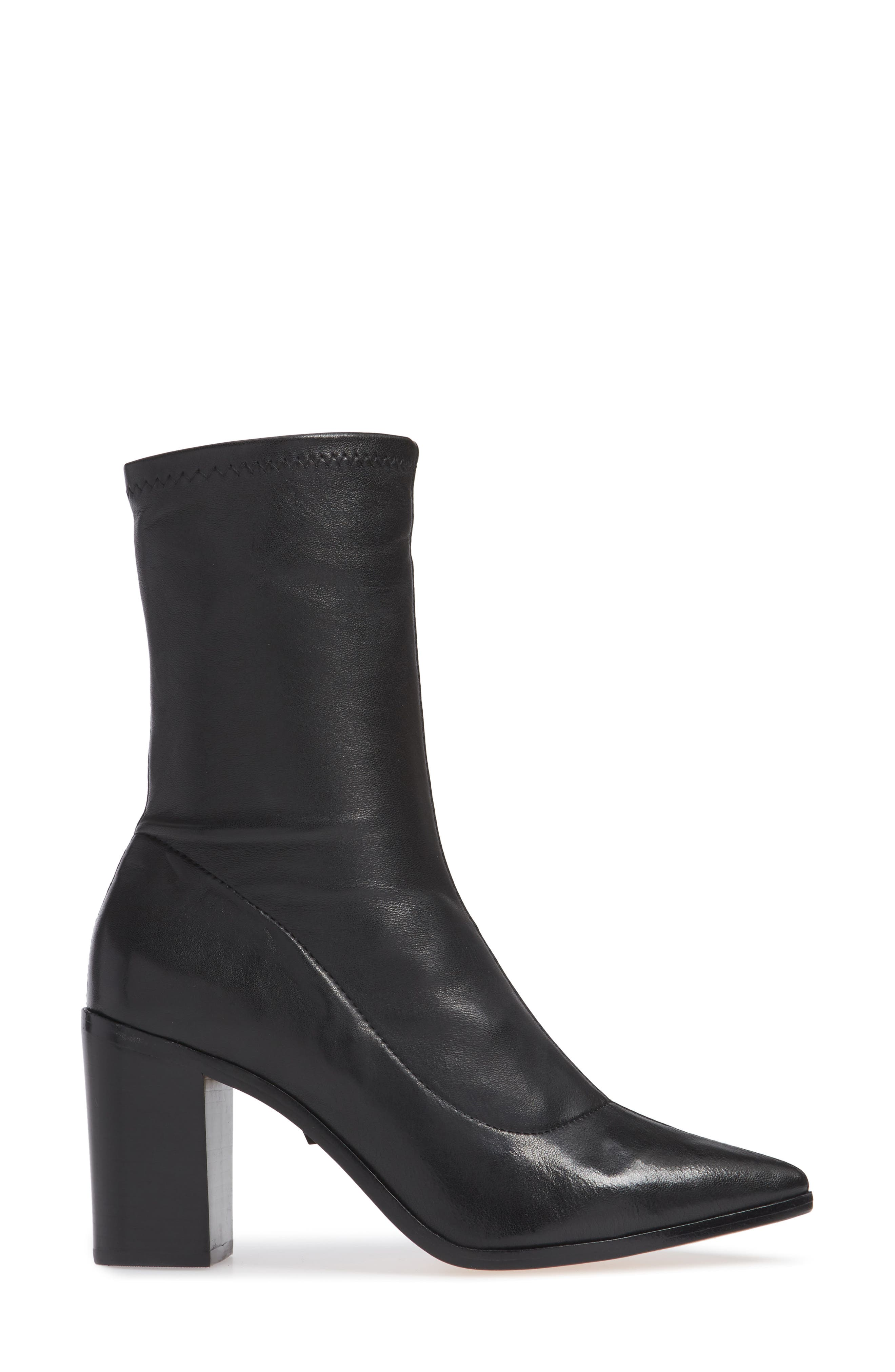 Amellie Pointy Toe Bootie,                             Alternate thumbnail 3, color,                             BLACK LEATHER