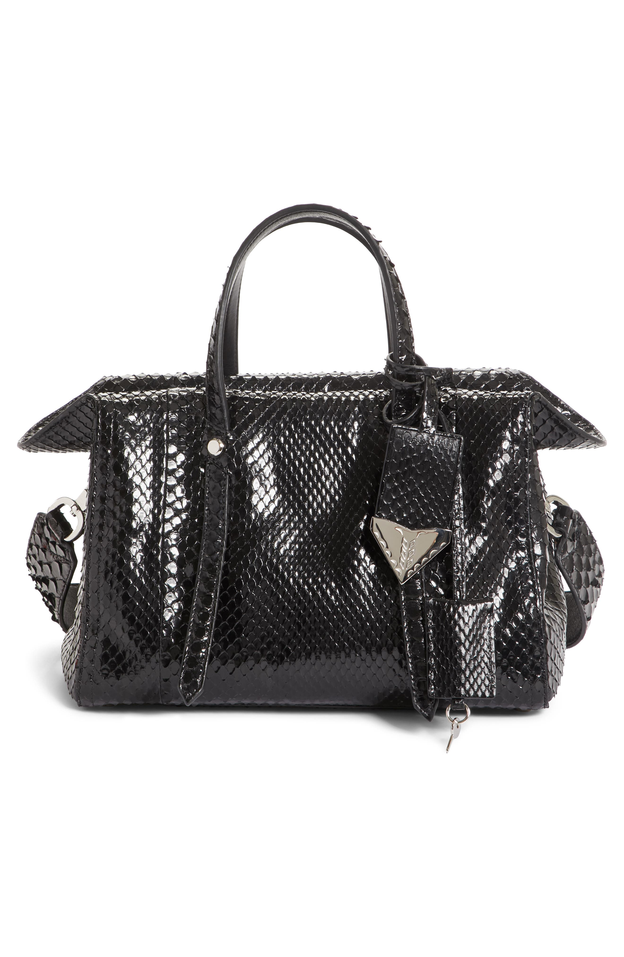 Calvin Klein 205W395NYC Small Genuine Python Satchel,                             Alternate thumbnail 3, color,                             001