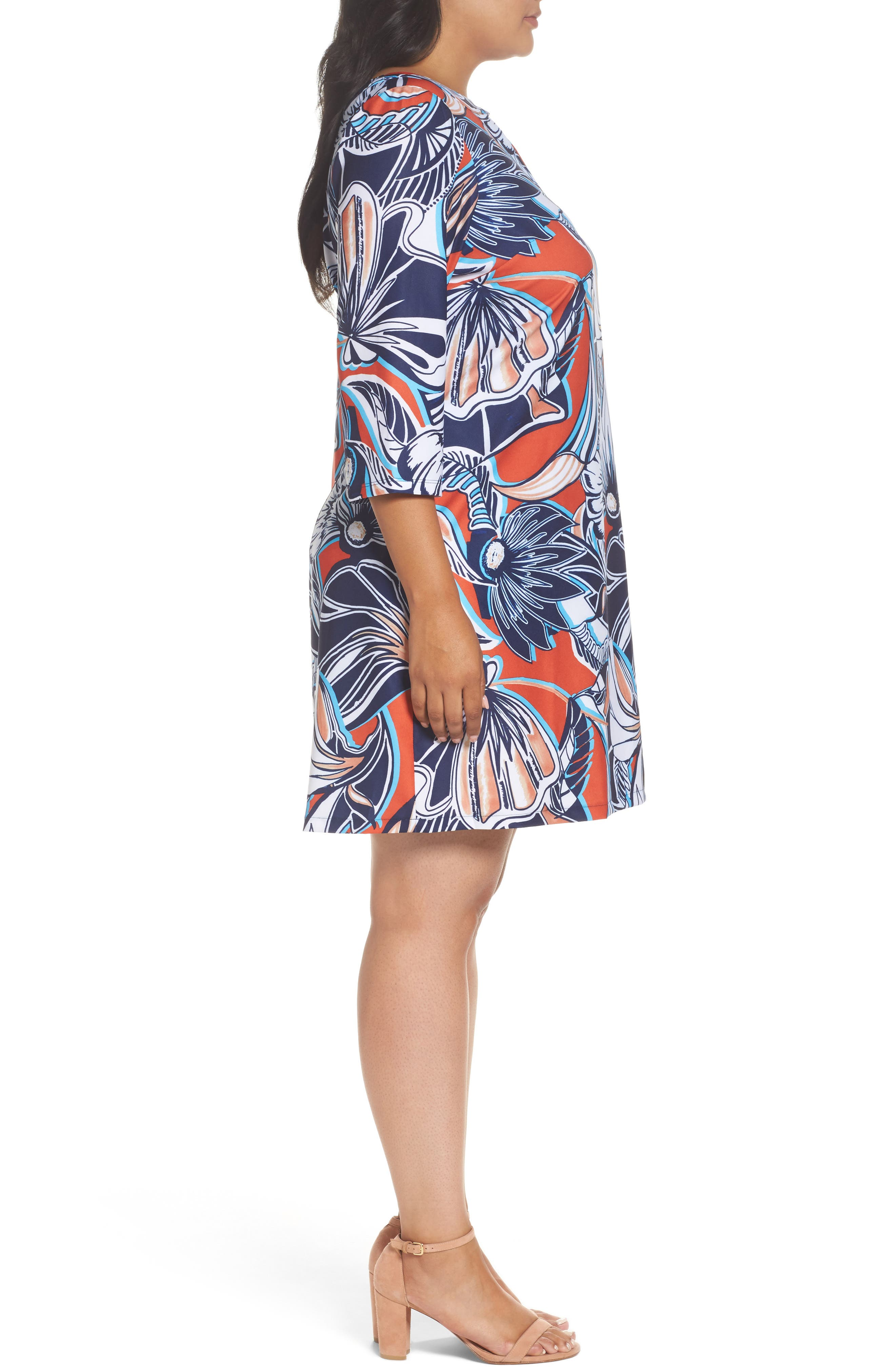 Floral A-Line Shift Dress,                             Alternate thumbnail 3, color,                             649