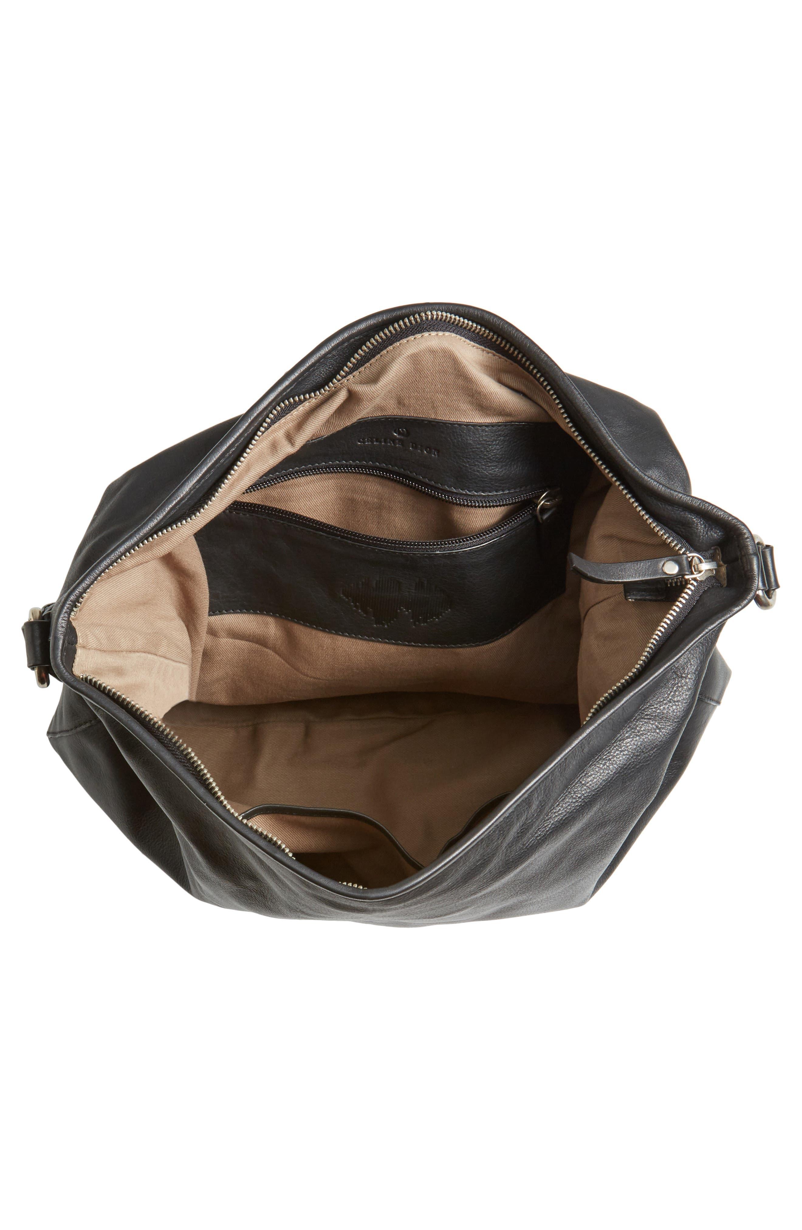 Céline Dion Cadence Leather Hobo Bag,                             Alternate thumbnail 4, color,                             001