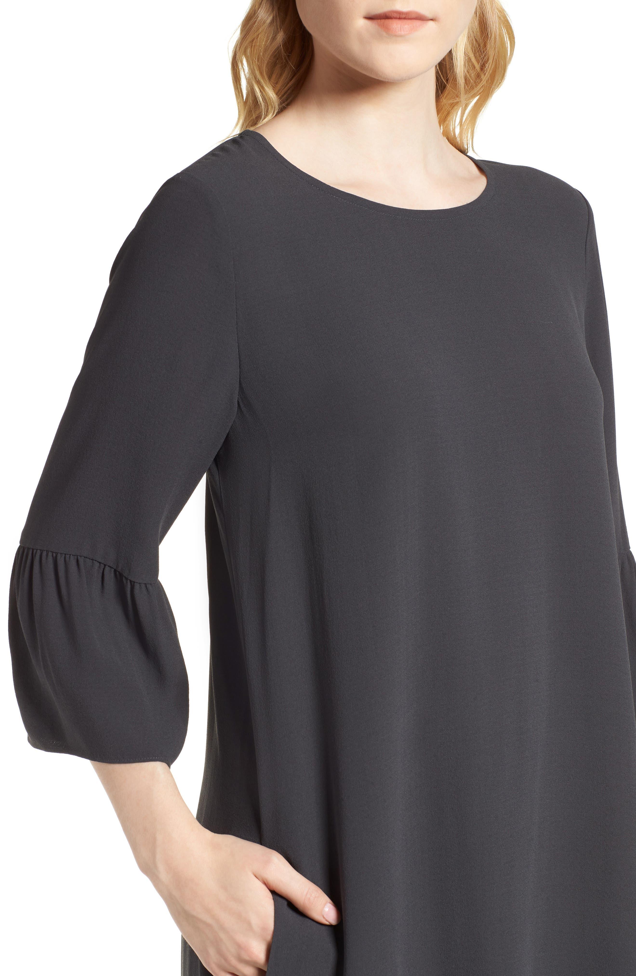Flare Sleeve Silk Dress,                             Alternate thumbnail 4, color,                             025