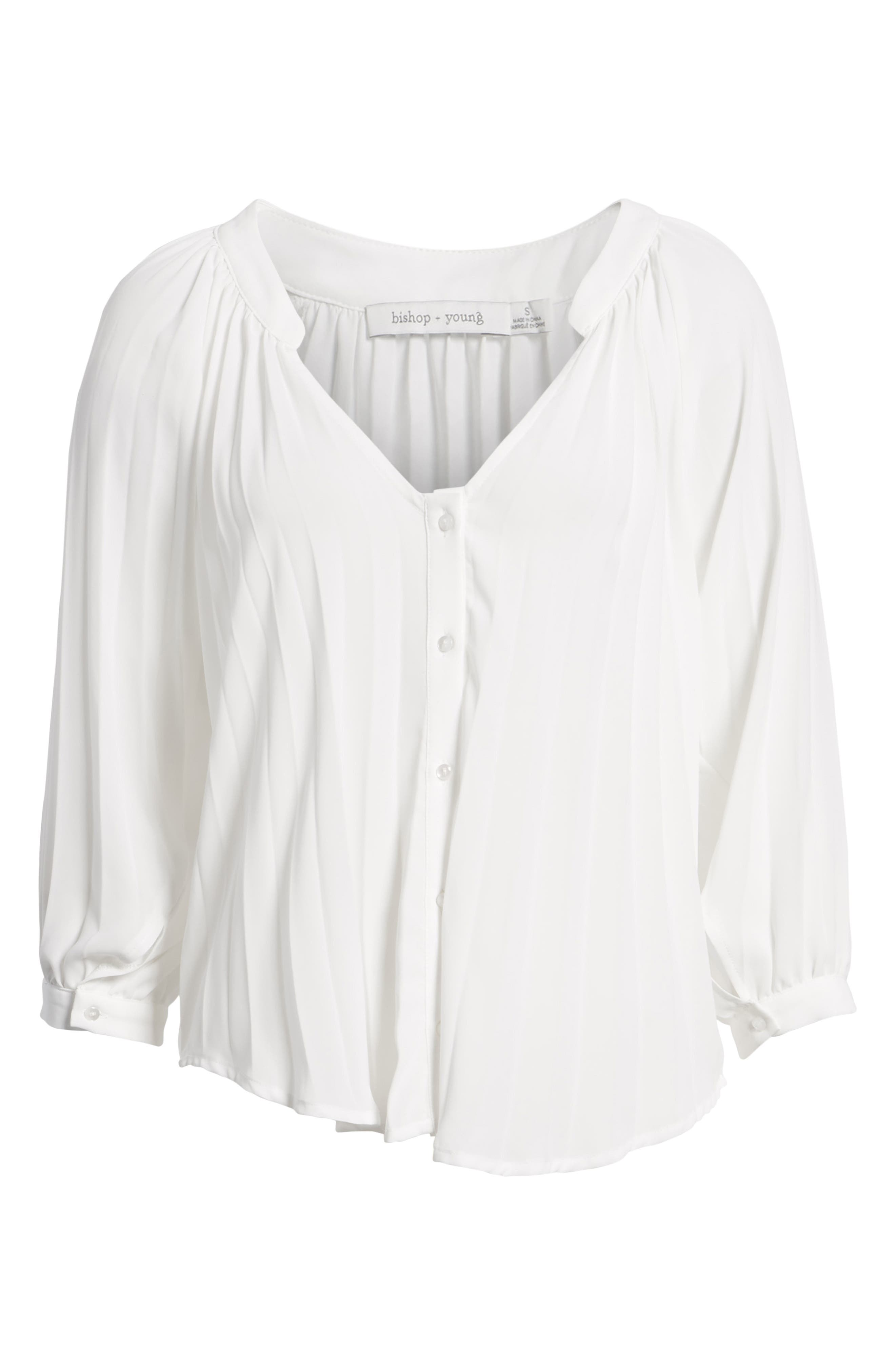 Bishop + Young Pleated Top,                             Alternate thumbnail 7, color,                             WHITE