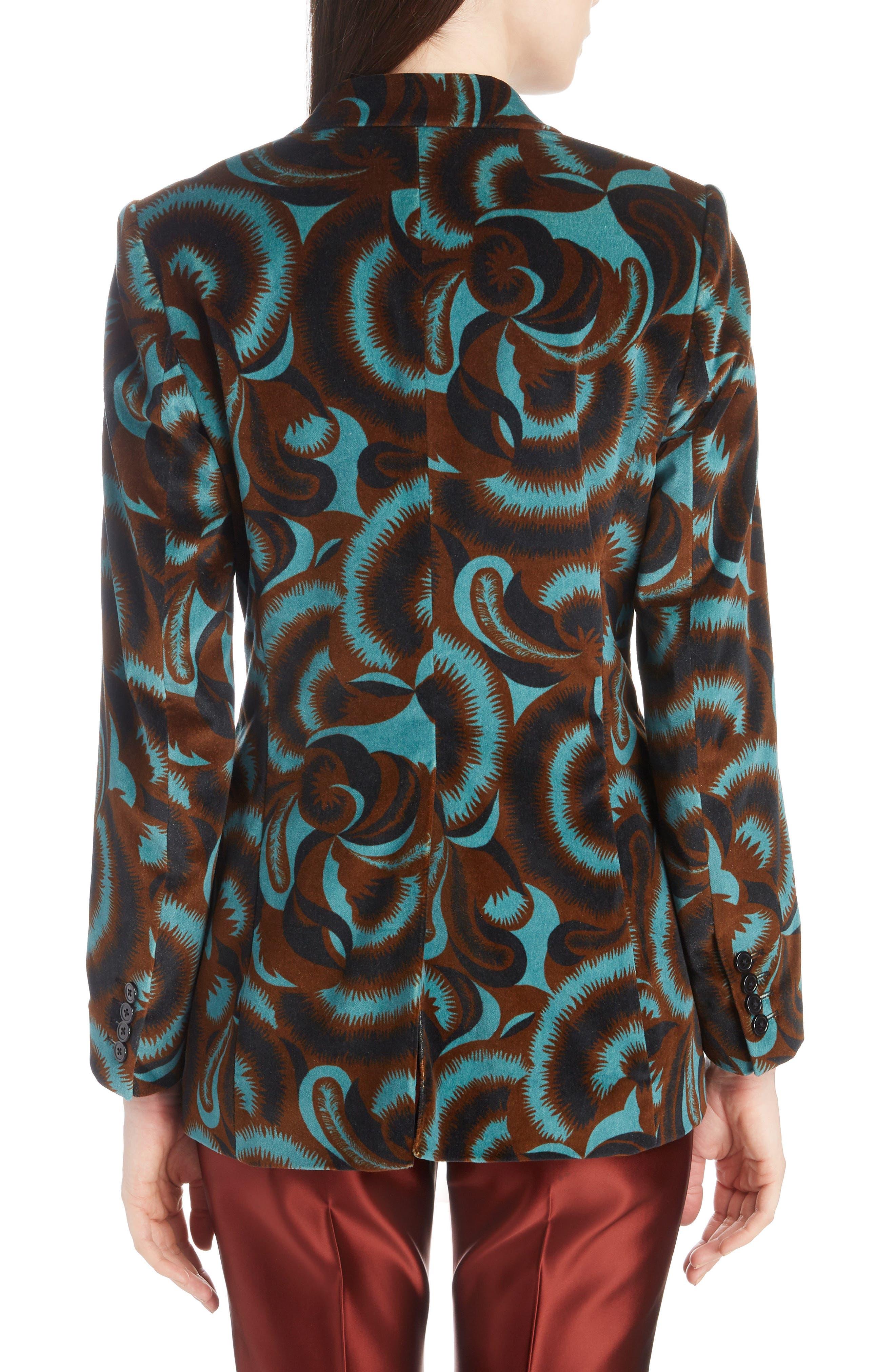 Floral Velvet Blazer,                             Alternate thumbnail 2, color,                             PETROL